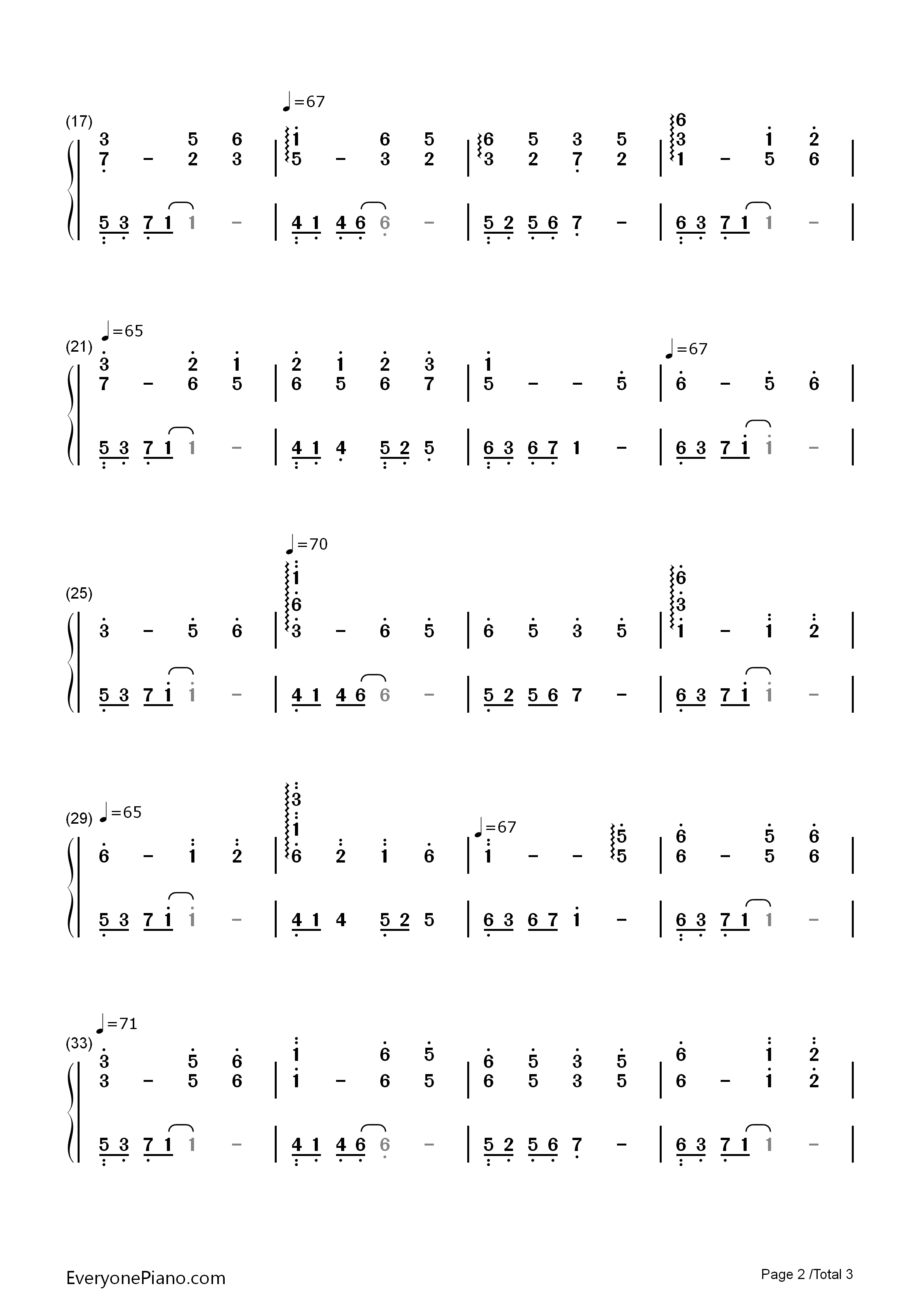 Palace Memories Numbered Musical Notation Preview 2