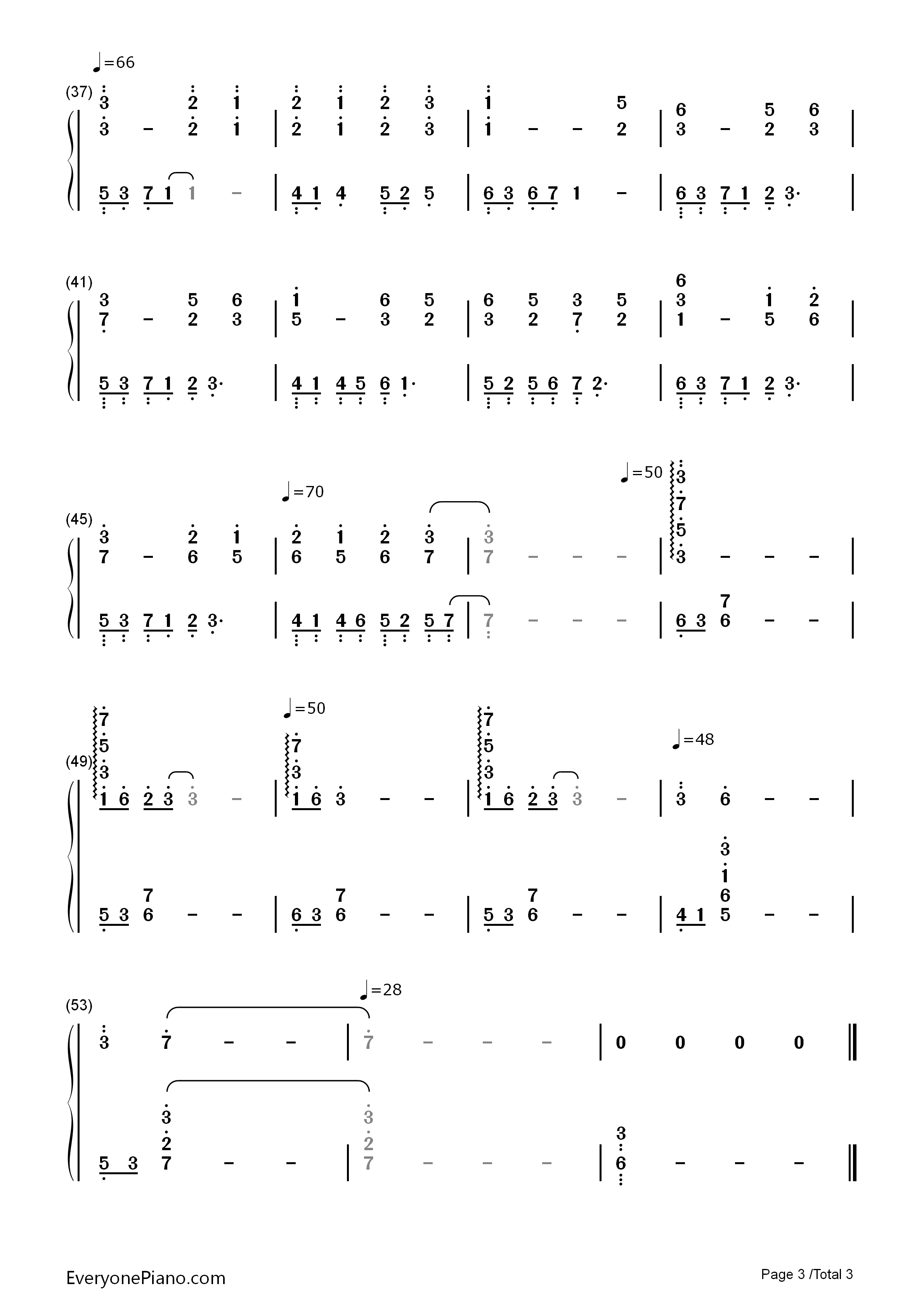 Palace Memories Numbered Musical Notation Preview 3
