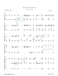 Country Road-Take Me Home Country Roads Numbered Musical Notation Preview 1