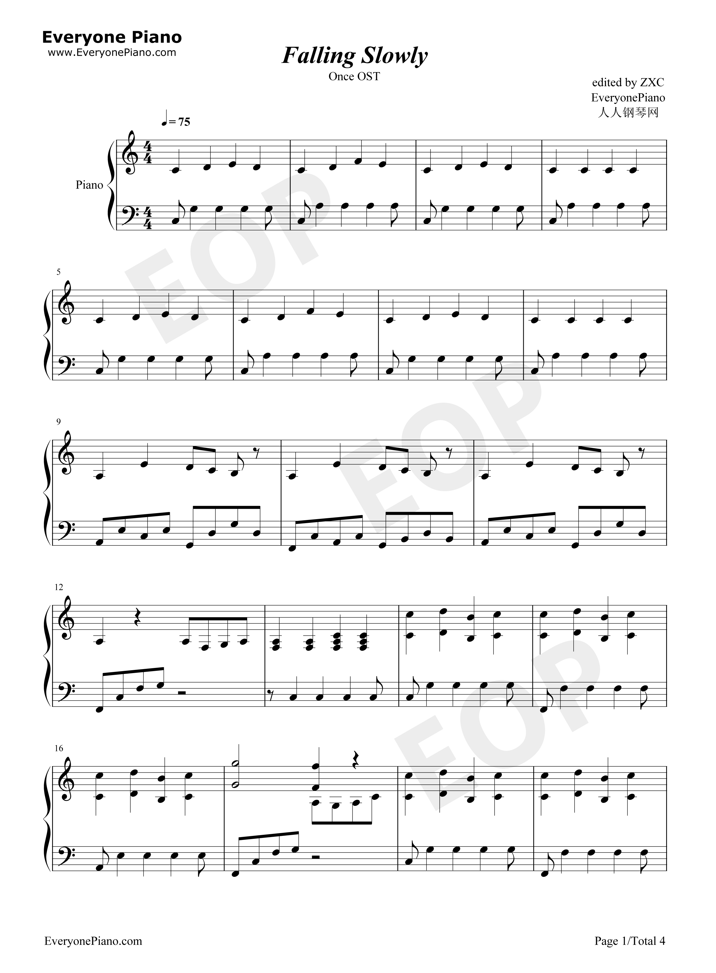 Falling slowly once ost stave preview 1 free piano sheet music listen now print sheet falling slowly once ost stave preview 1 hexwebz Gallery