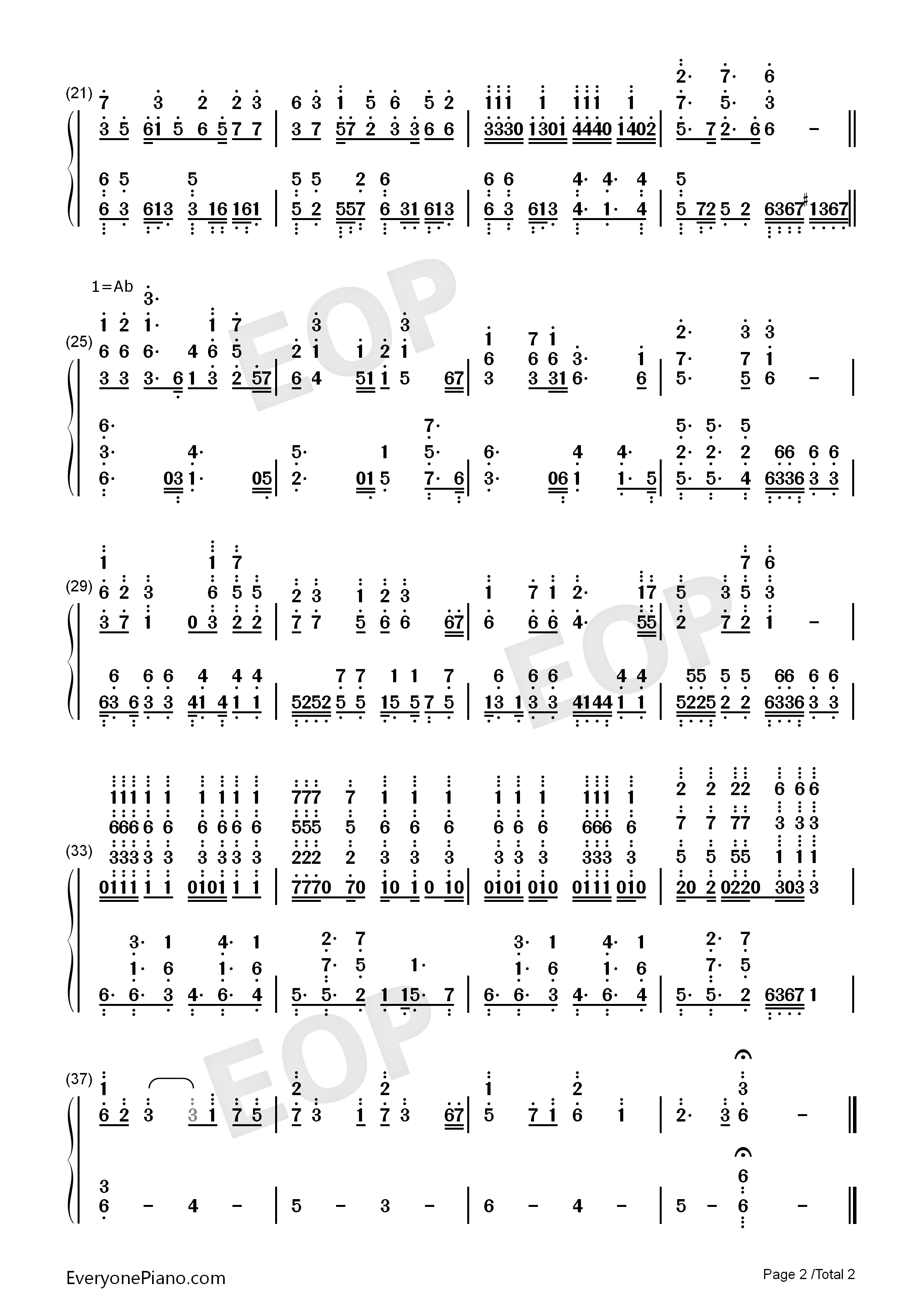 Theme Of Sss Angel Beats Ost Numbered Musical Notation Preview