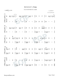 Arrietty's Song-Numbered-Musical-Notation-Preview-1