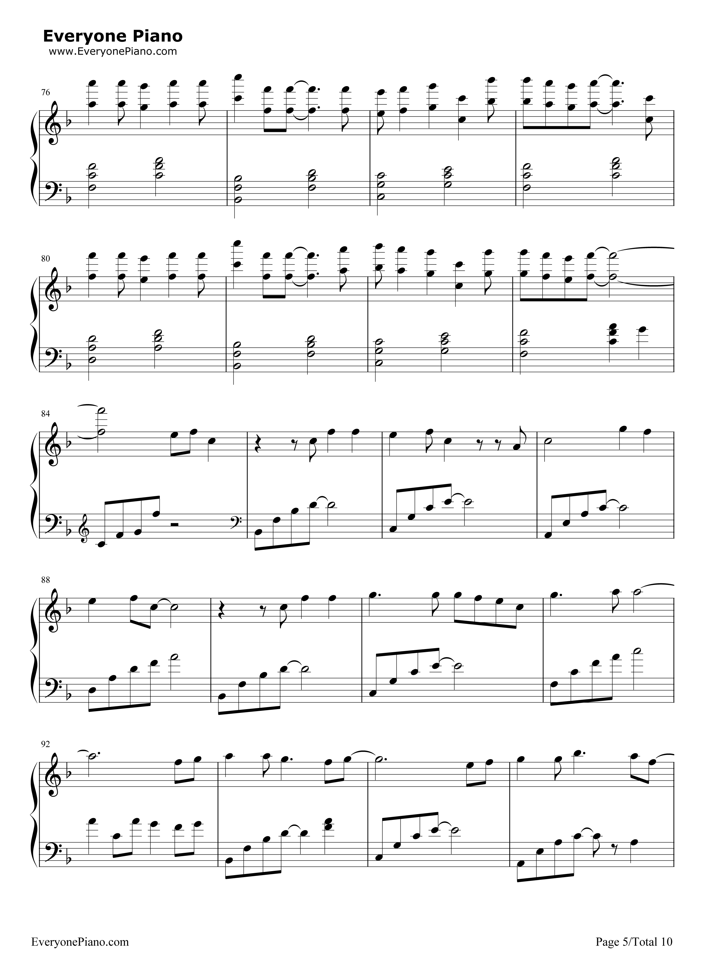 Letter song free piano sheet music piano chords letter song stave preview 5 hexwebz Gallery