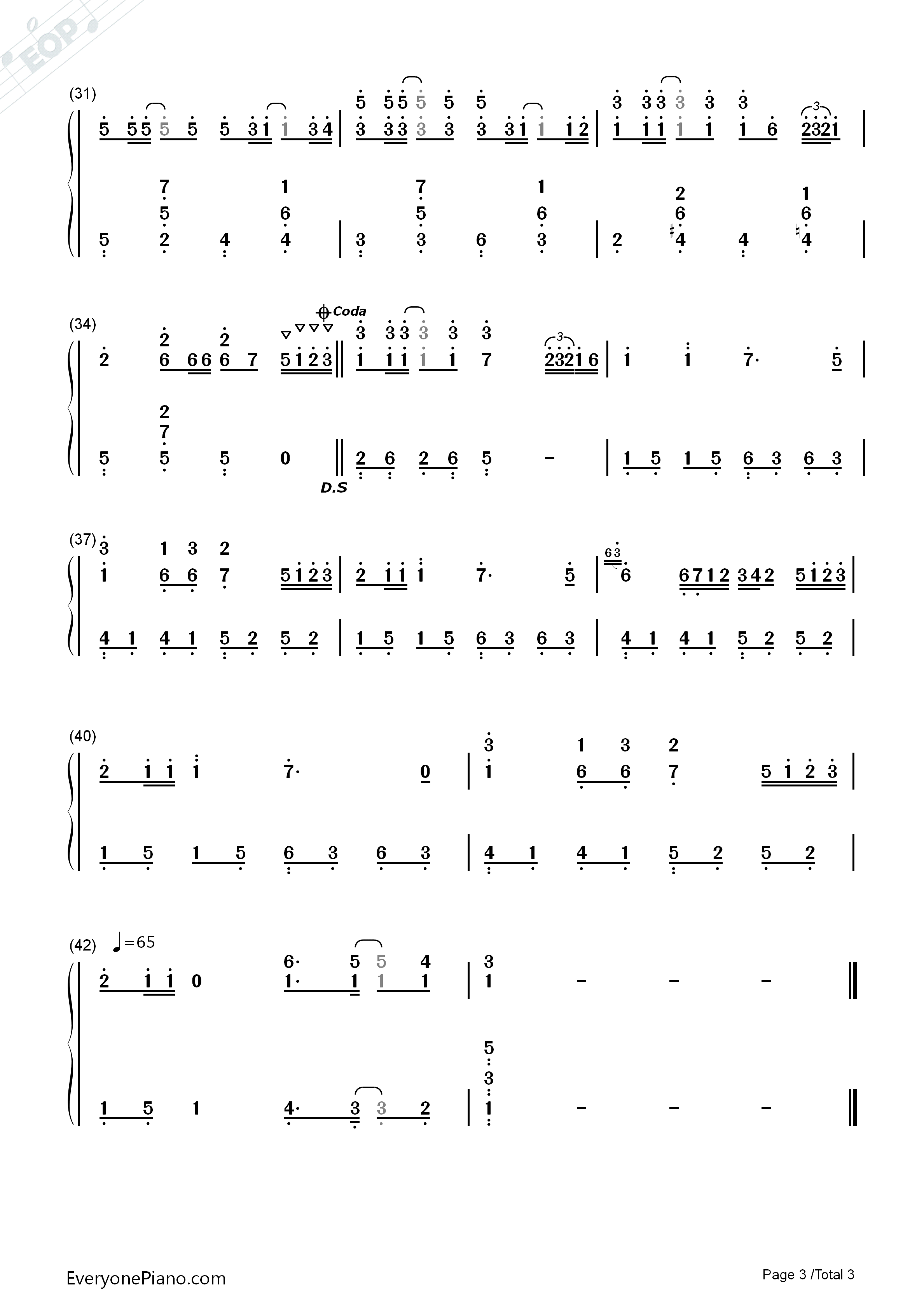 Summer Simplified Version-Joe Hisaishi Numbered Musical Notation Preview 3
