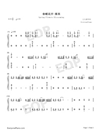 Spring Flowers Blossoming-Numbered-Musical-Notation-Preview-1