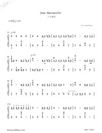 June Barcarolle Numbered Musical Notation Preview 1