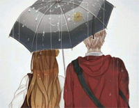 Two People Under the Umbrella