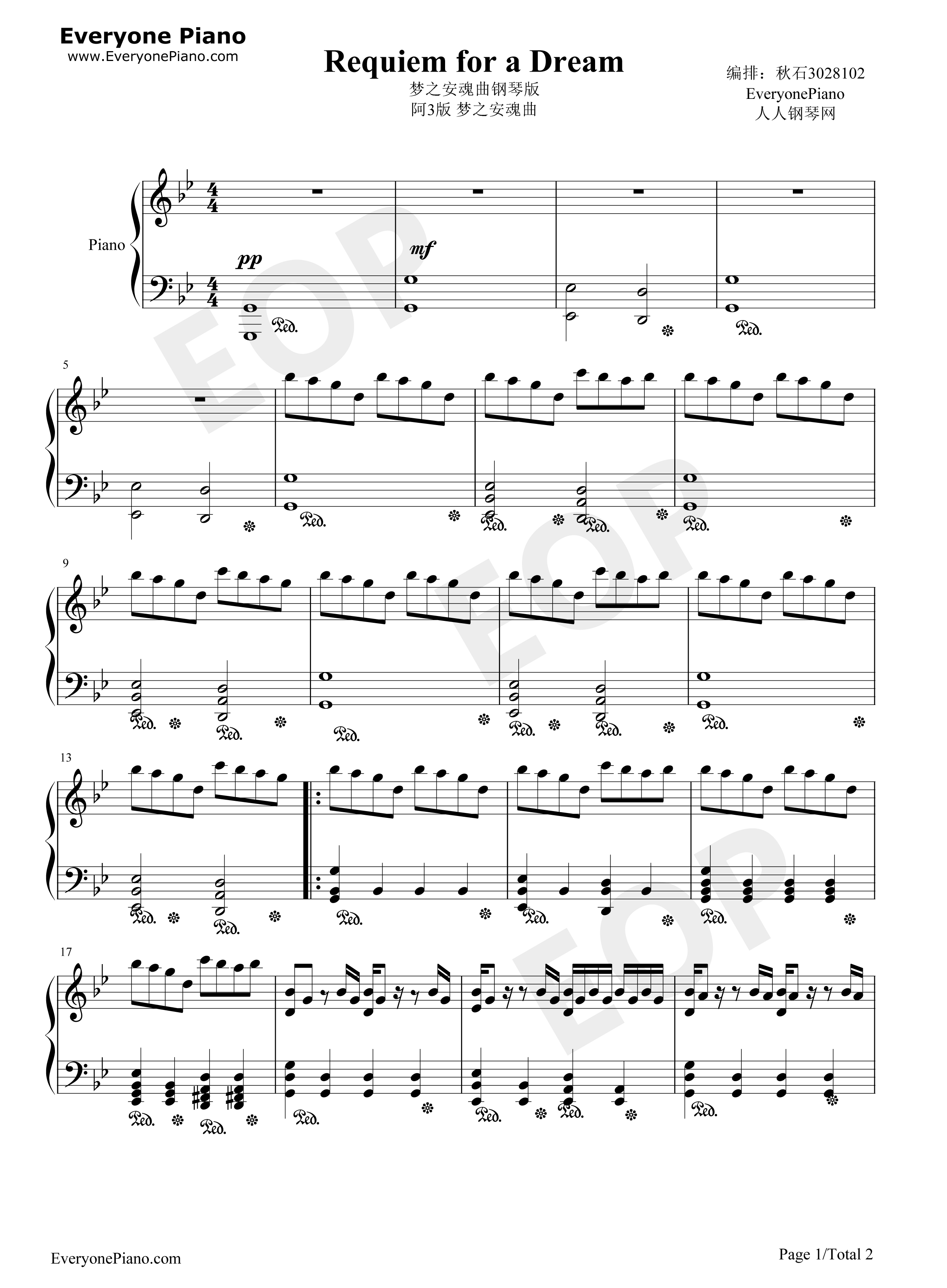 Requiem for a Dream Stave Preview 1-Free Piano Sheet Music & Piano ...