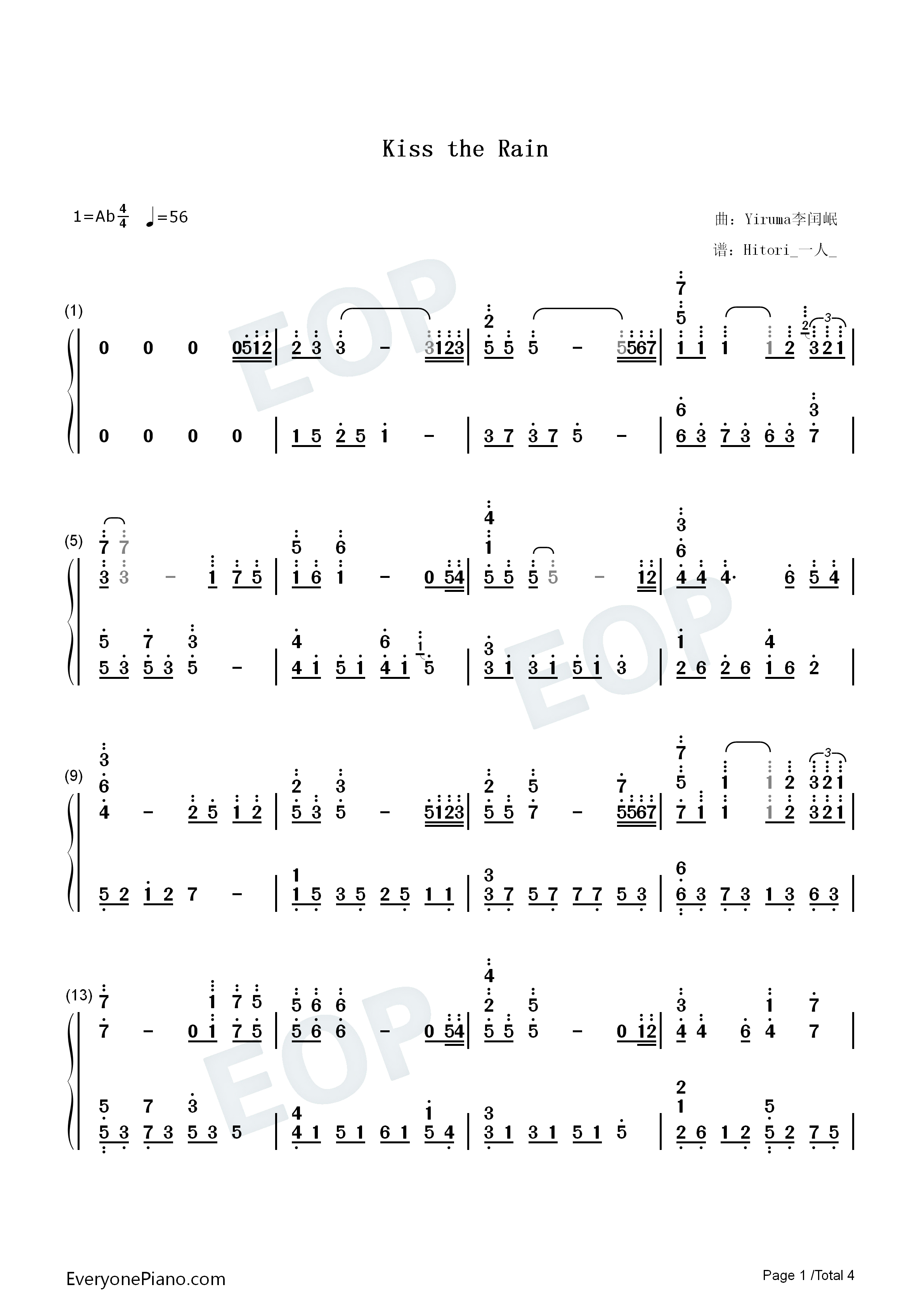 Kiss The Rain-Original Version Numbered Musical Notation Preview 1-Free Piano Sheet Music ...