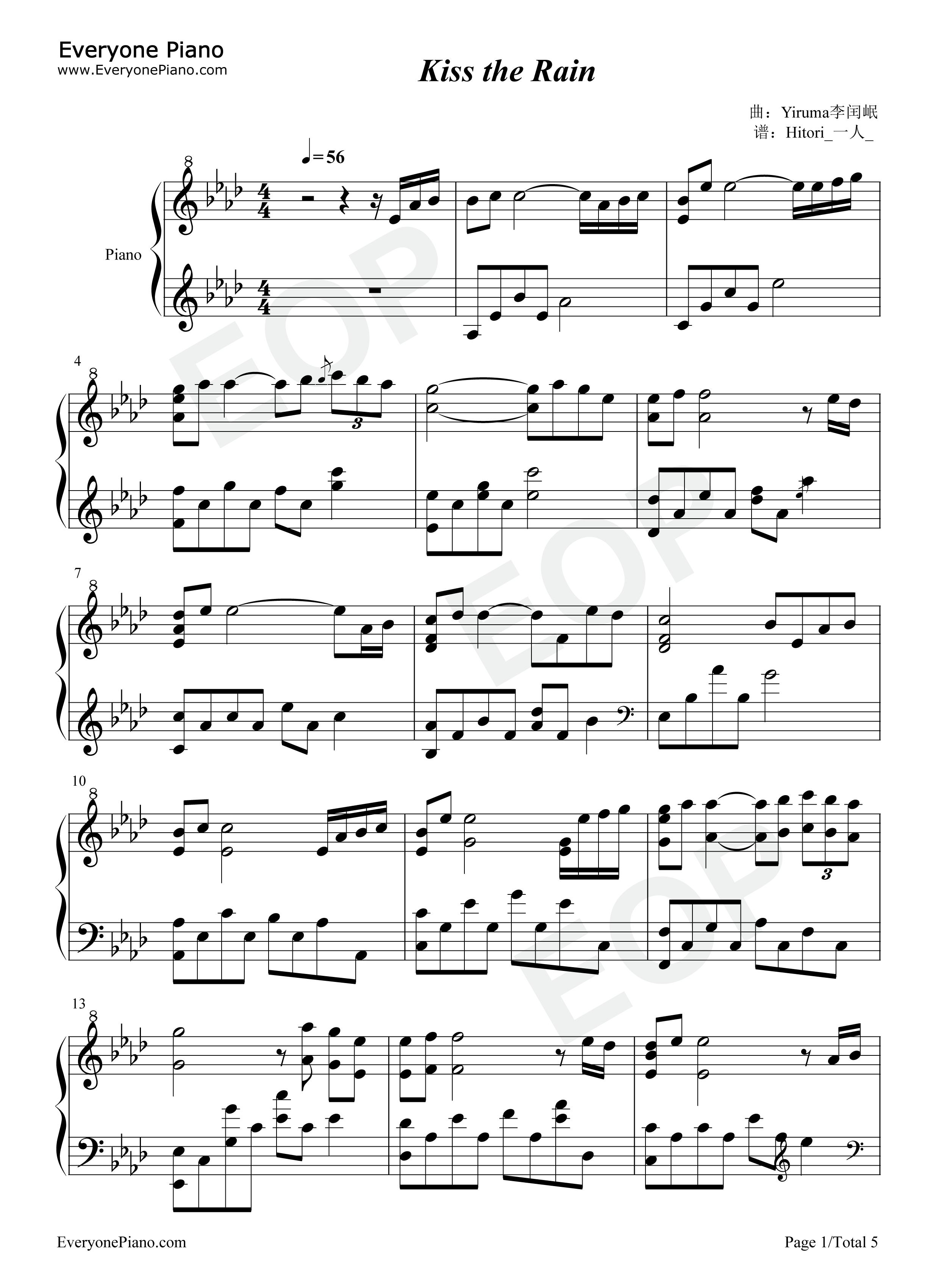 Kiss The Rain-Original Version Stave Preview 1- Free Piano Sheet Music u0026 Piano Chords