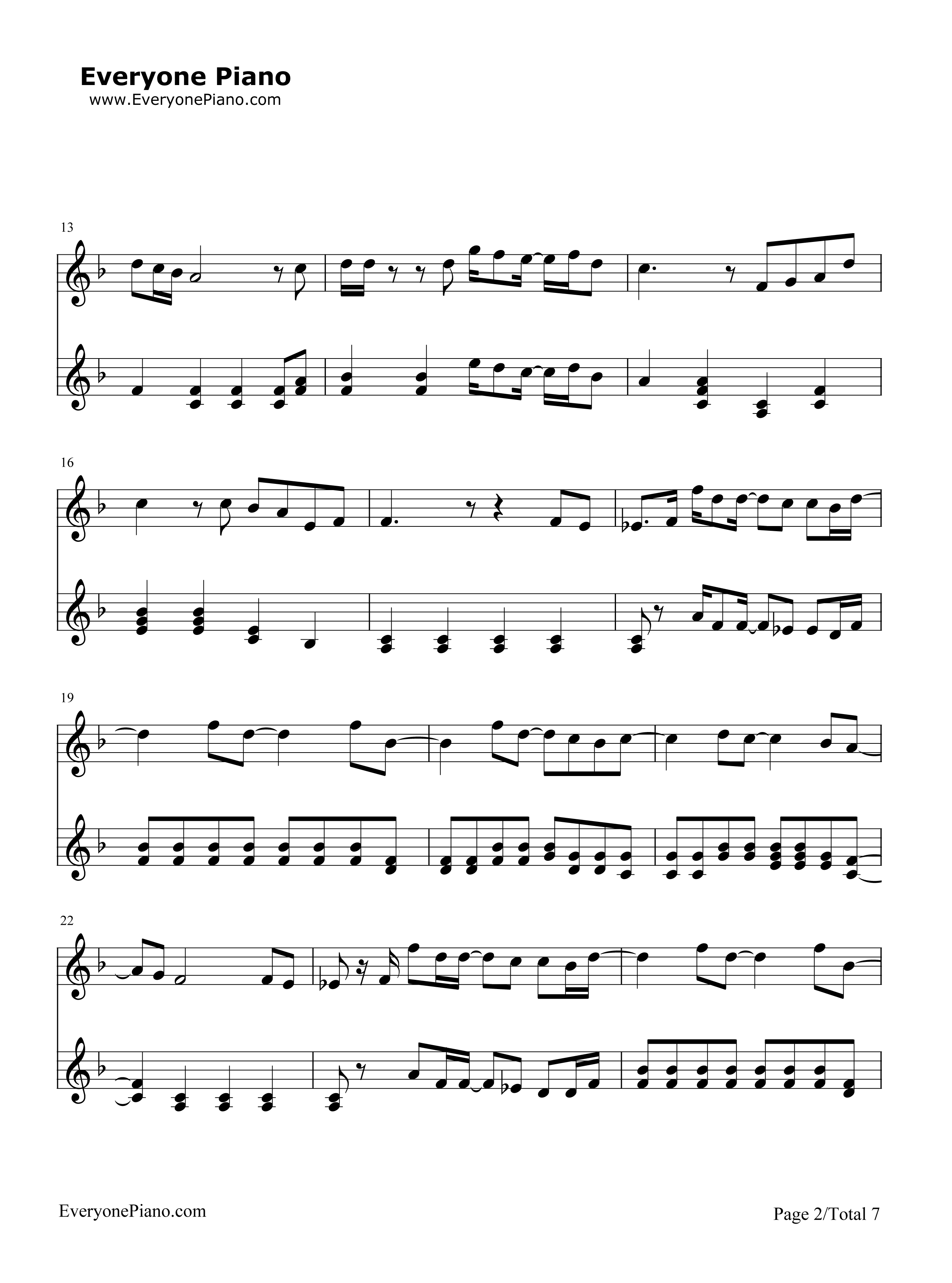 Hey Jude-The Beatles Stave Preview 2-Free Piano Sheet Music u0026 Piano Chords