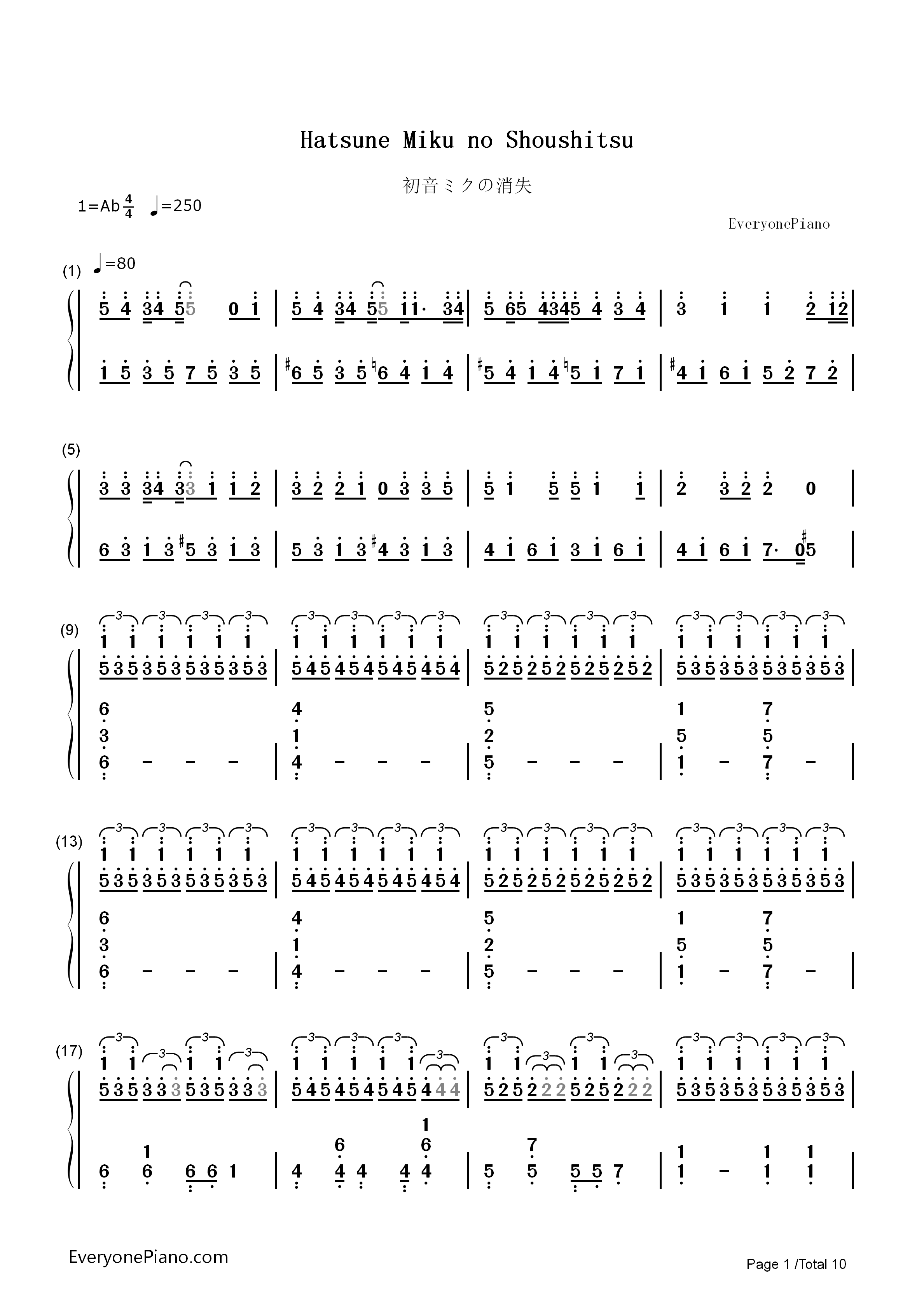 Hatsune Miku no Shoushitsu Numbered Musical Notation Preview 1