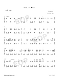 Heal The World - Michael Jackson-Numbered-Musical-Notation-Preview-1