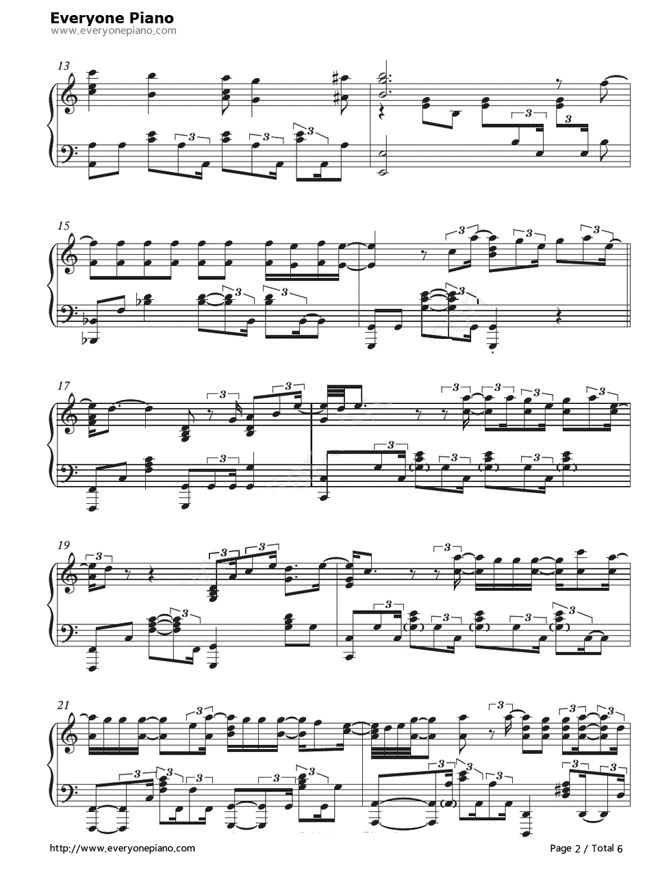 When I Was Your Man-Bruno Mars Stave Preview 2-Free Piano Sheet Music u0026 Piano Chords