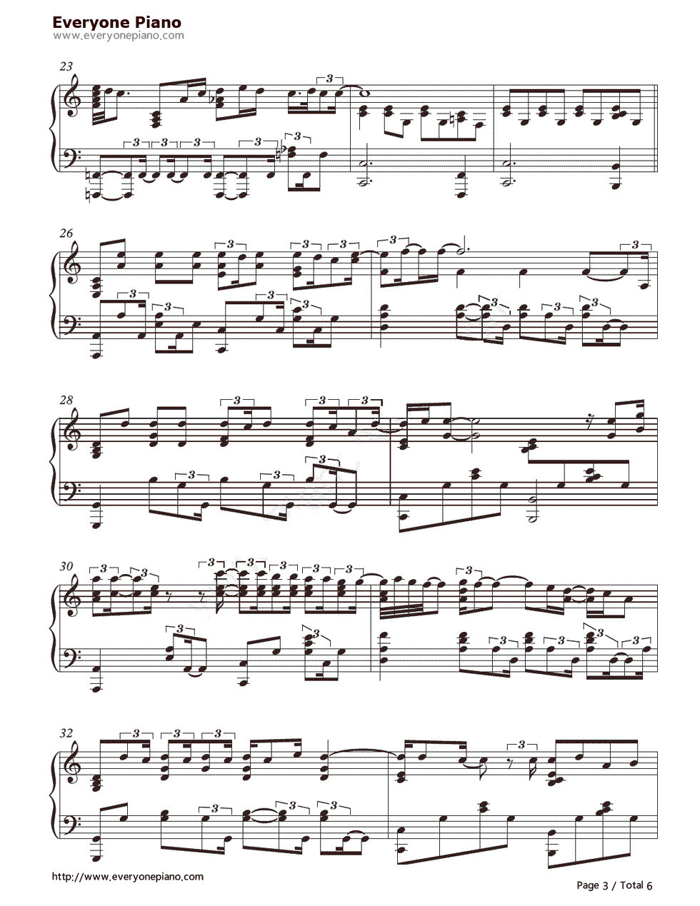 When I Was Your Man-Bruno Mars Stave Preview 3-Free Piano Sheet Music u0026 Piano Chords