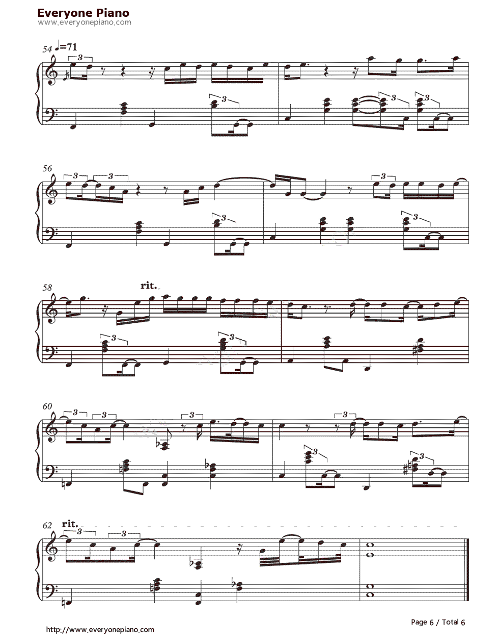 When I Was Your Man-Bruno Mars Stave Preview 6-Free Piano Sheet Music u0026 Piano Chords
