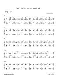 Just The Way You Are-Bruno Mars-Numbered-Musical-Notation-Preview-1