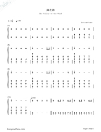 The Valley of the Wind-Numbered-Musical-Notation-Preview-1