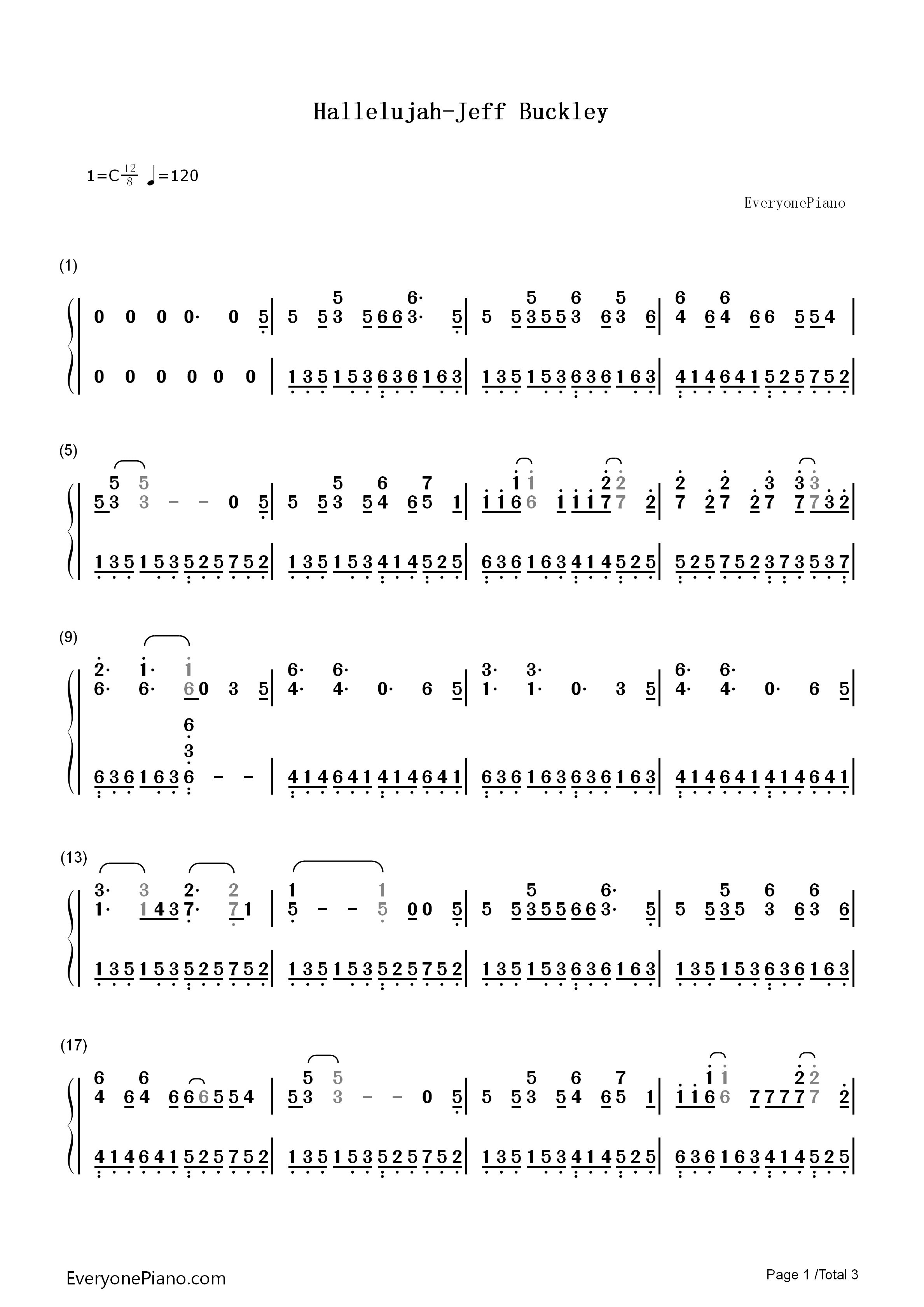 Hallelujah Jeff Buckley Numbered Musical Notation Preview