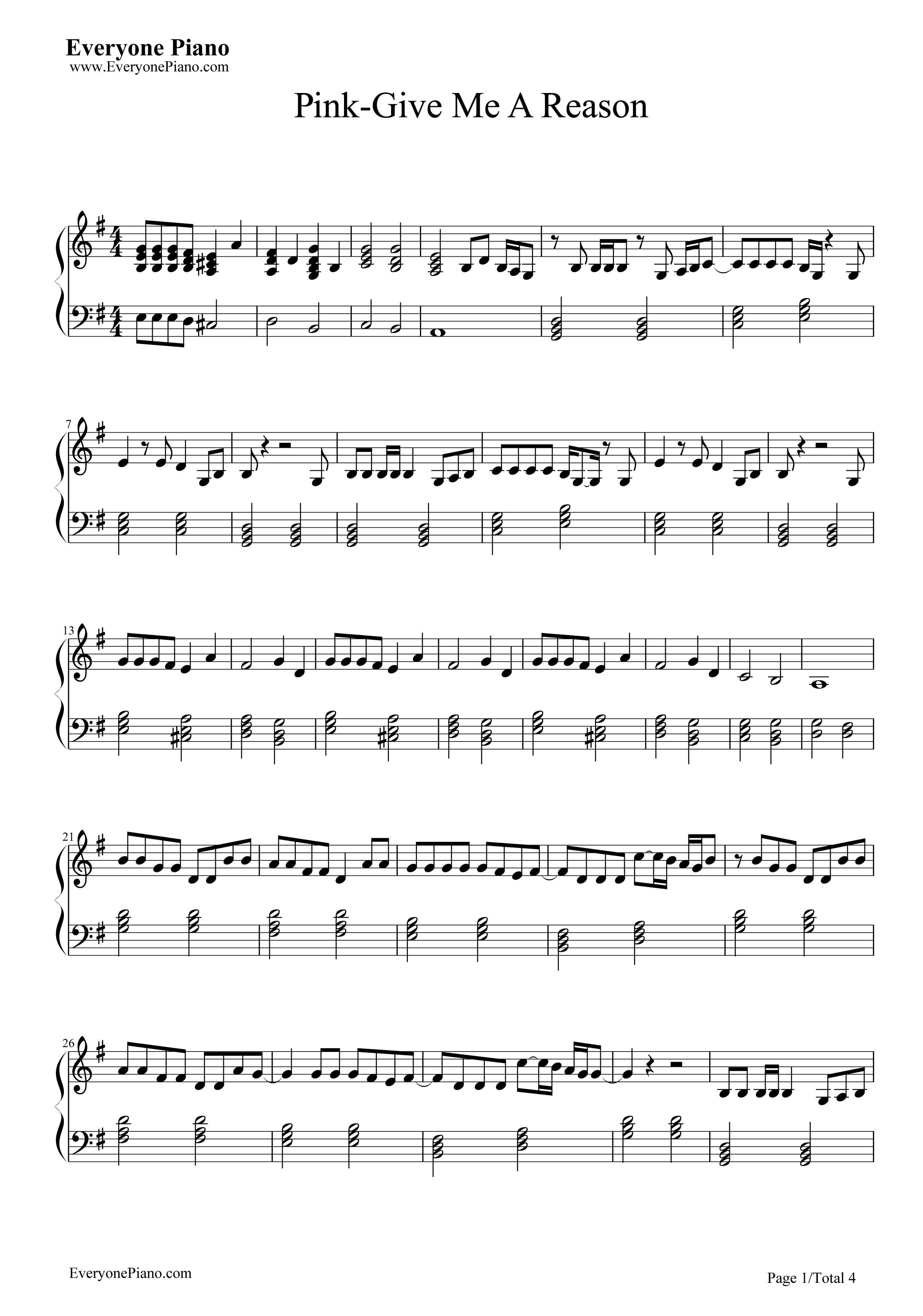 Just Give Me a Reason-P!nk Stave Preview 1-Free Piano Sheet Music u0026 Piano Chords