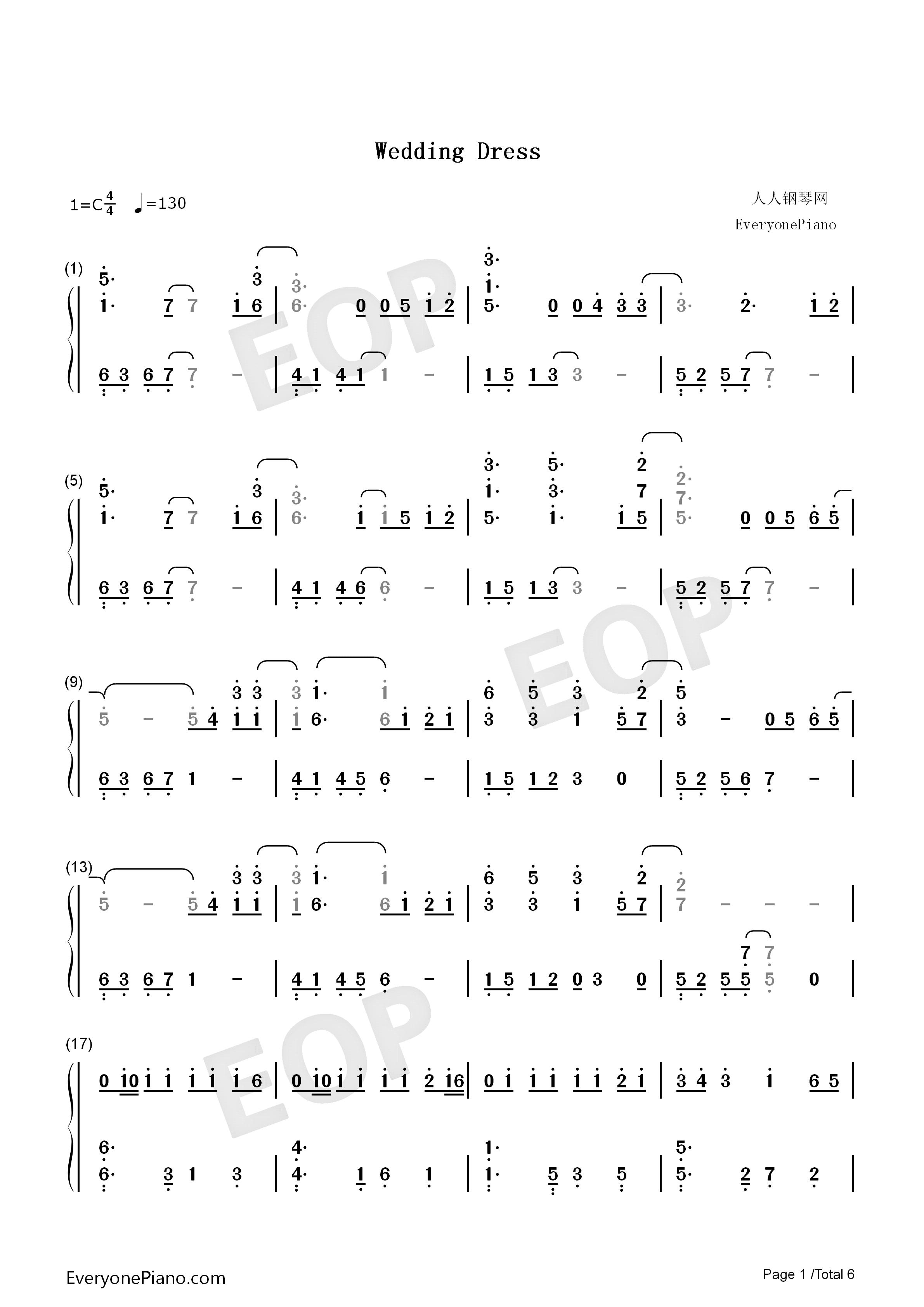 Wedding Dress-Taeyang Numbered Musical Notation Preview