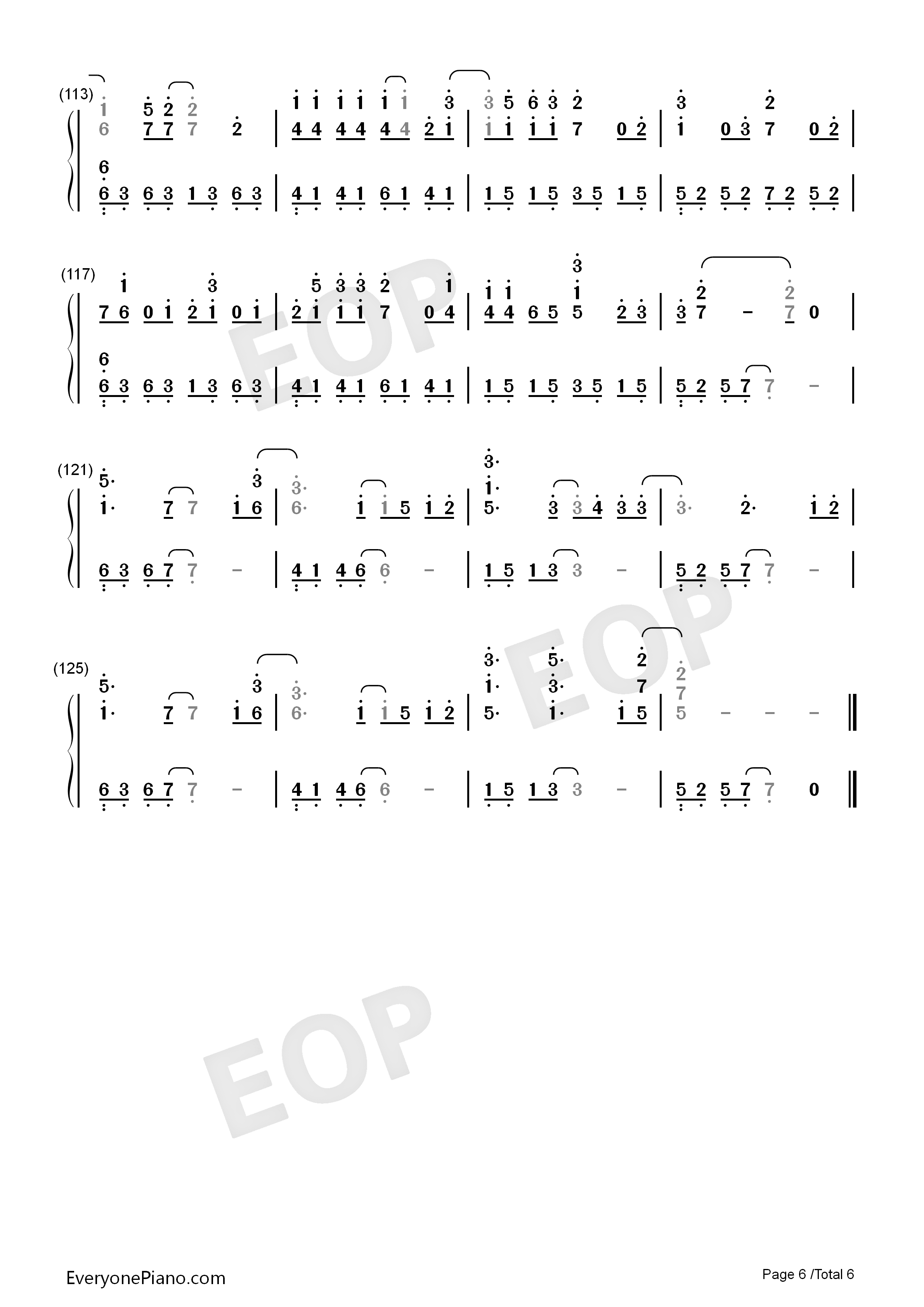 Wedding Dress Taeyang Numbered Musical Notation Preview 6 Free