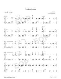 Wedding Dress Taeyang Numbered Musical Notation Preview 1