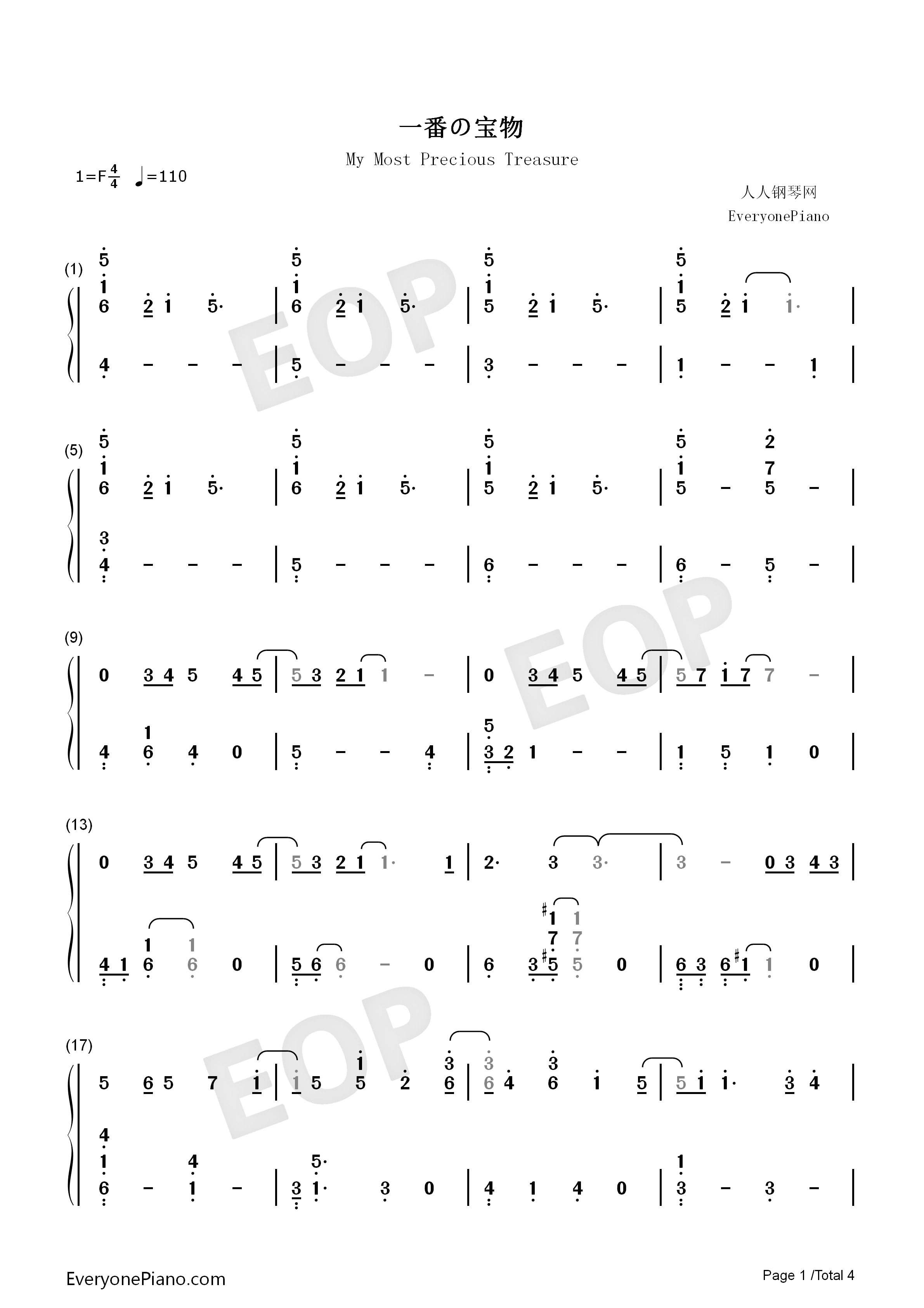 My Most Precious Treasure Angel Beats Numbered Musical Notation Preview