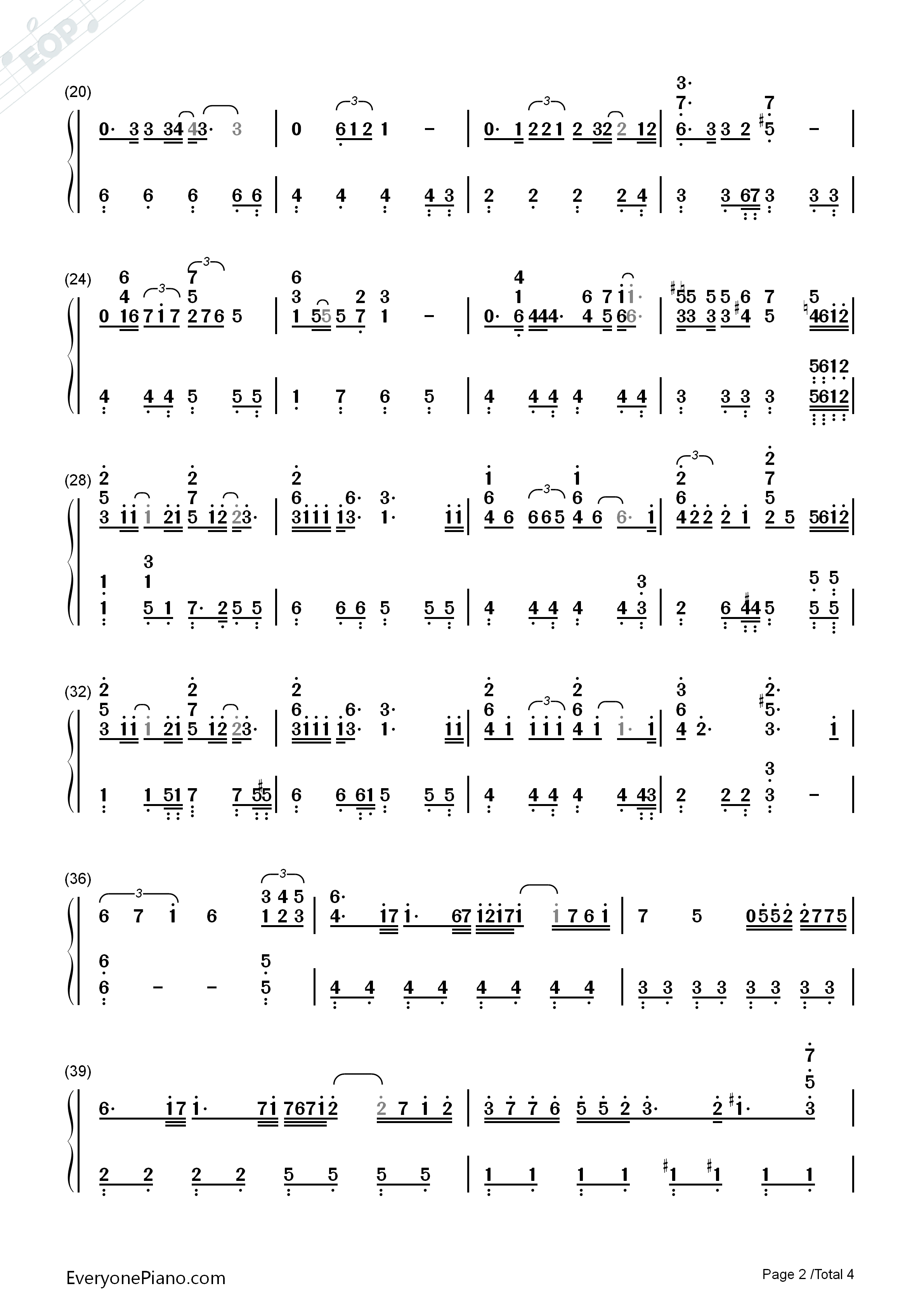 How Could I Forget You Numbered Musical Notation Preview 2
