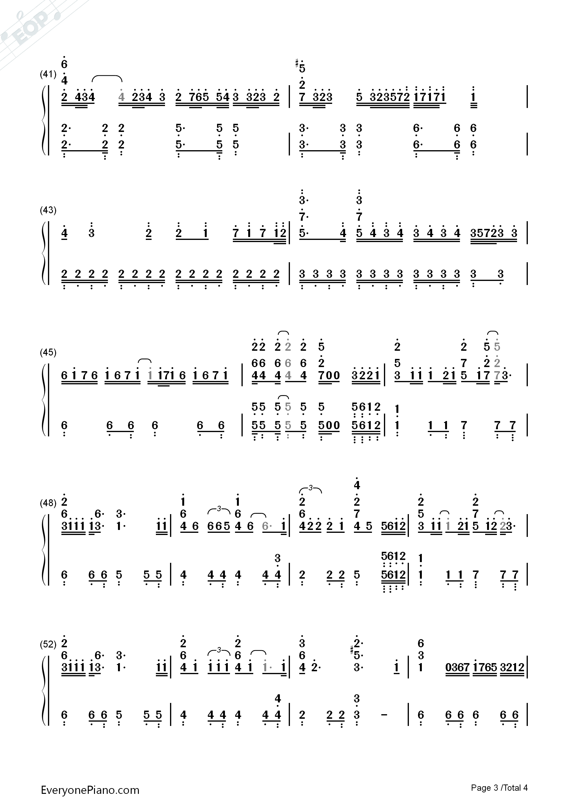 How Could I Forget You Numbered Musical Notation Preview 3