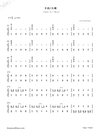 Canon in C Major-Simple Version-Numbered-Musical-Notation-Preview-1