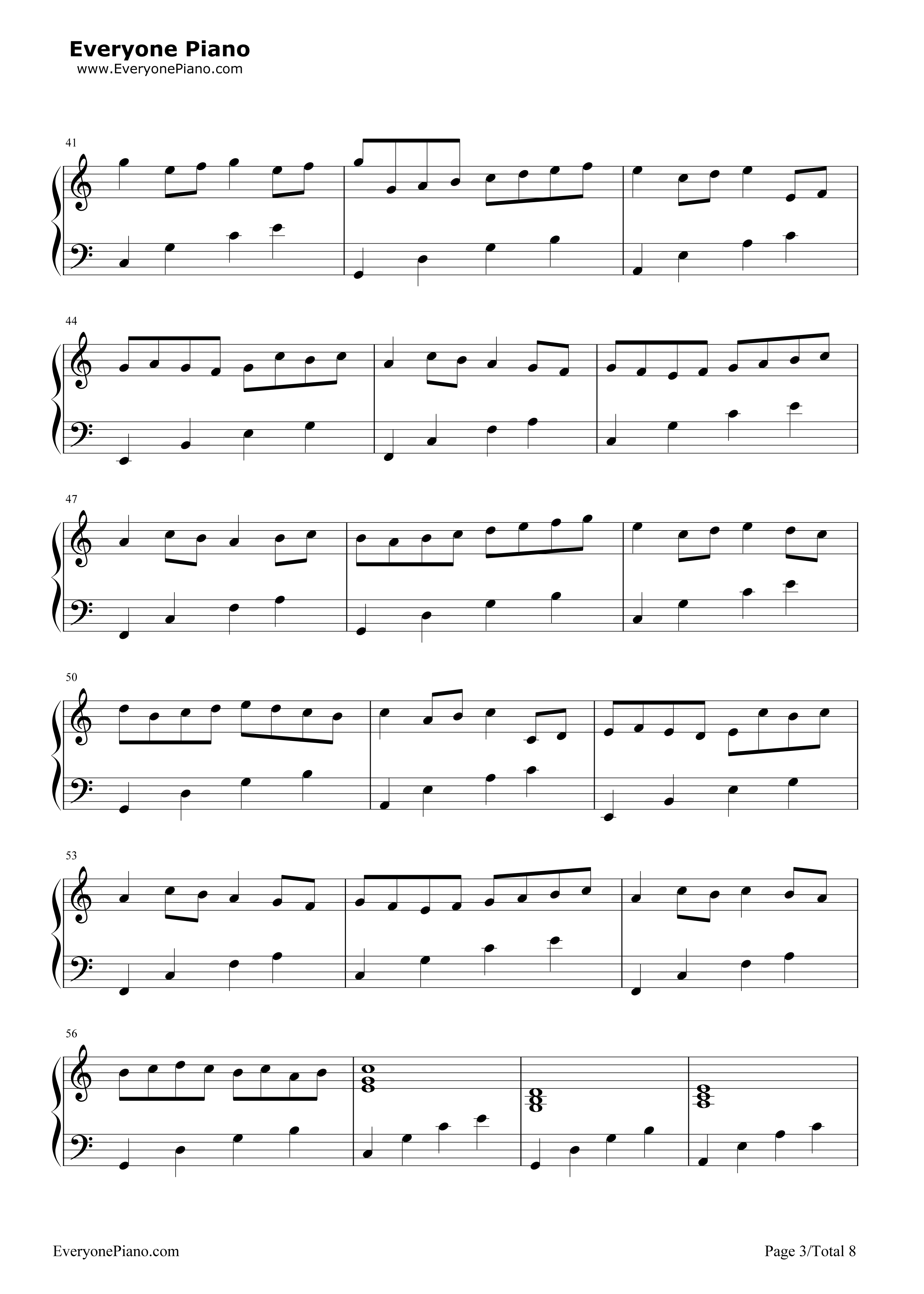 Canon in c major simple version free piano sheet music piano chords canon in c major simple version stave preview 3 hexwebz Gallery