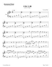 カノン-ハ長調版五線譜プレビュー1