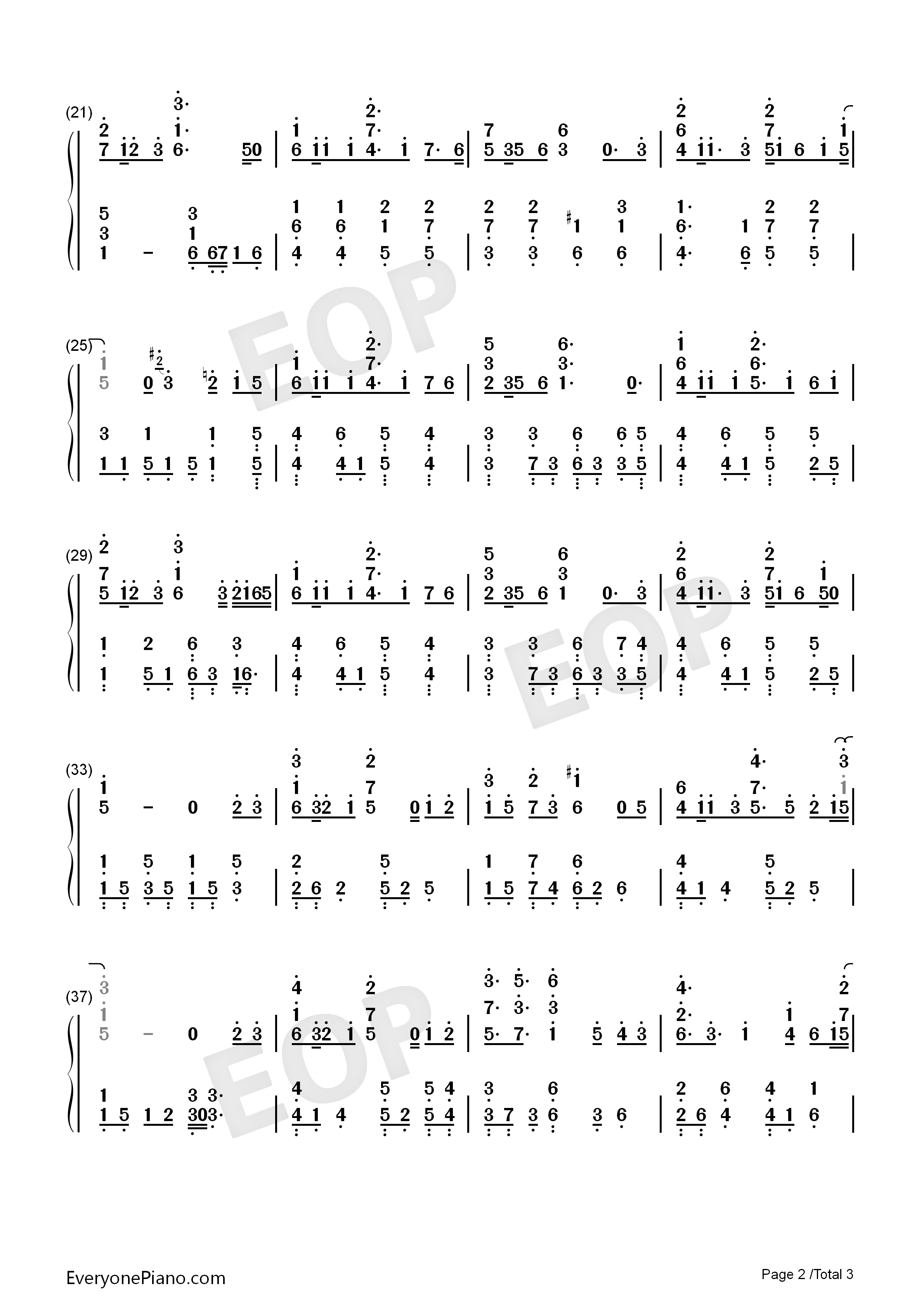 Harari Hirari-Harukanaru Toki no Naka de Maihitoyo ED Numbered Musical Notation Preview 2