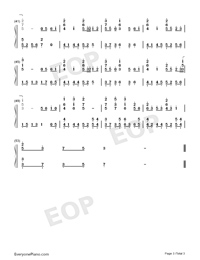 Harari Hirari-Harukanaru Toki no Naka de Maihitoyo ED Numbered Musical Notation Preview 3