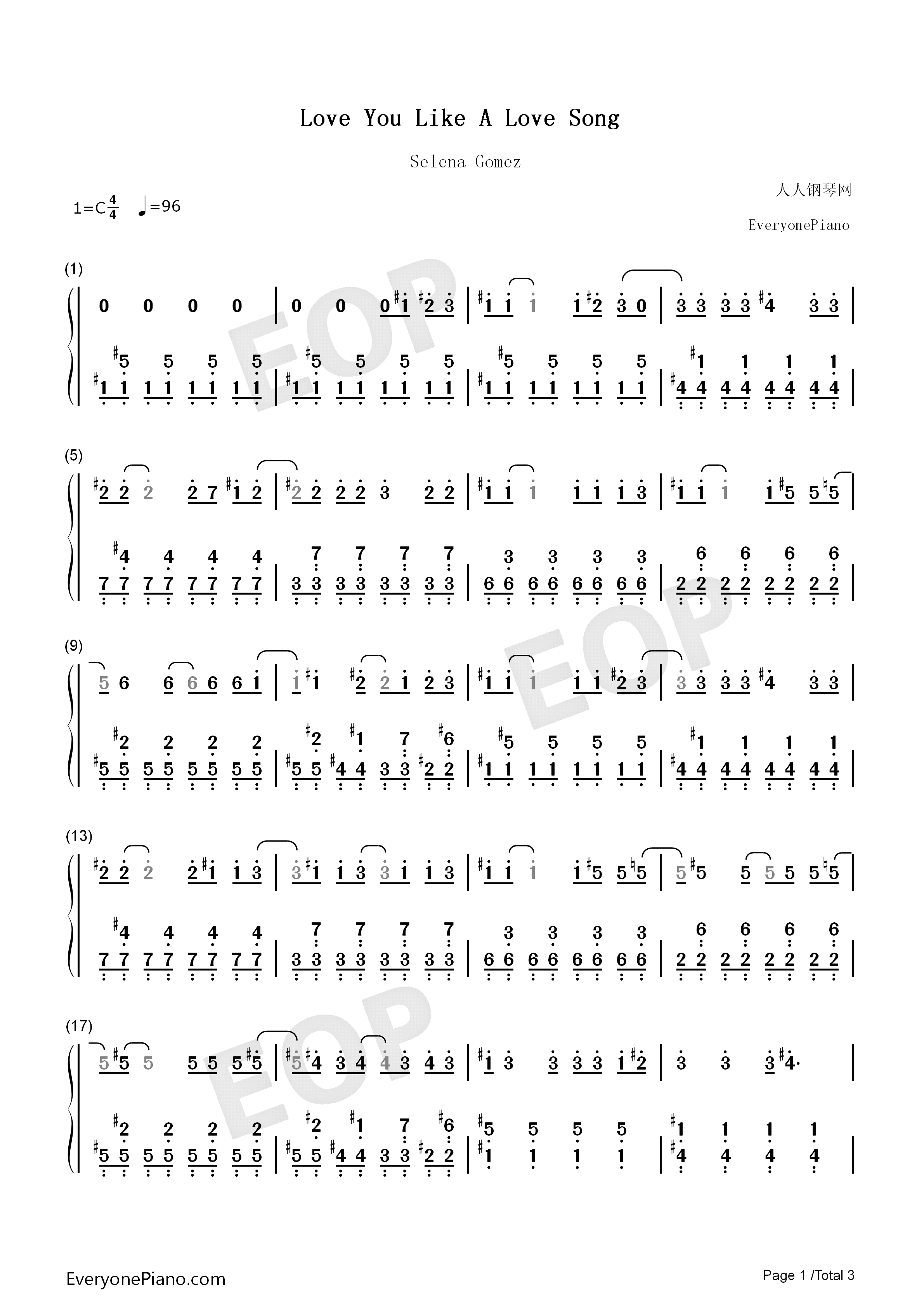 Love you like a love song numbered musical notation preview 1 listen now print sheet love you like a love song numbered musical notation preview 1 hexwebz Choice Image