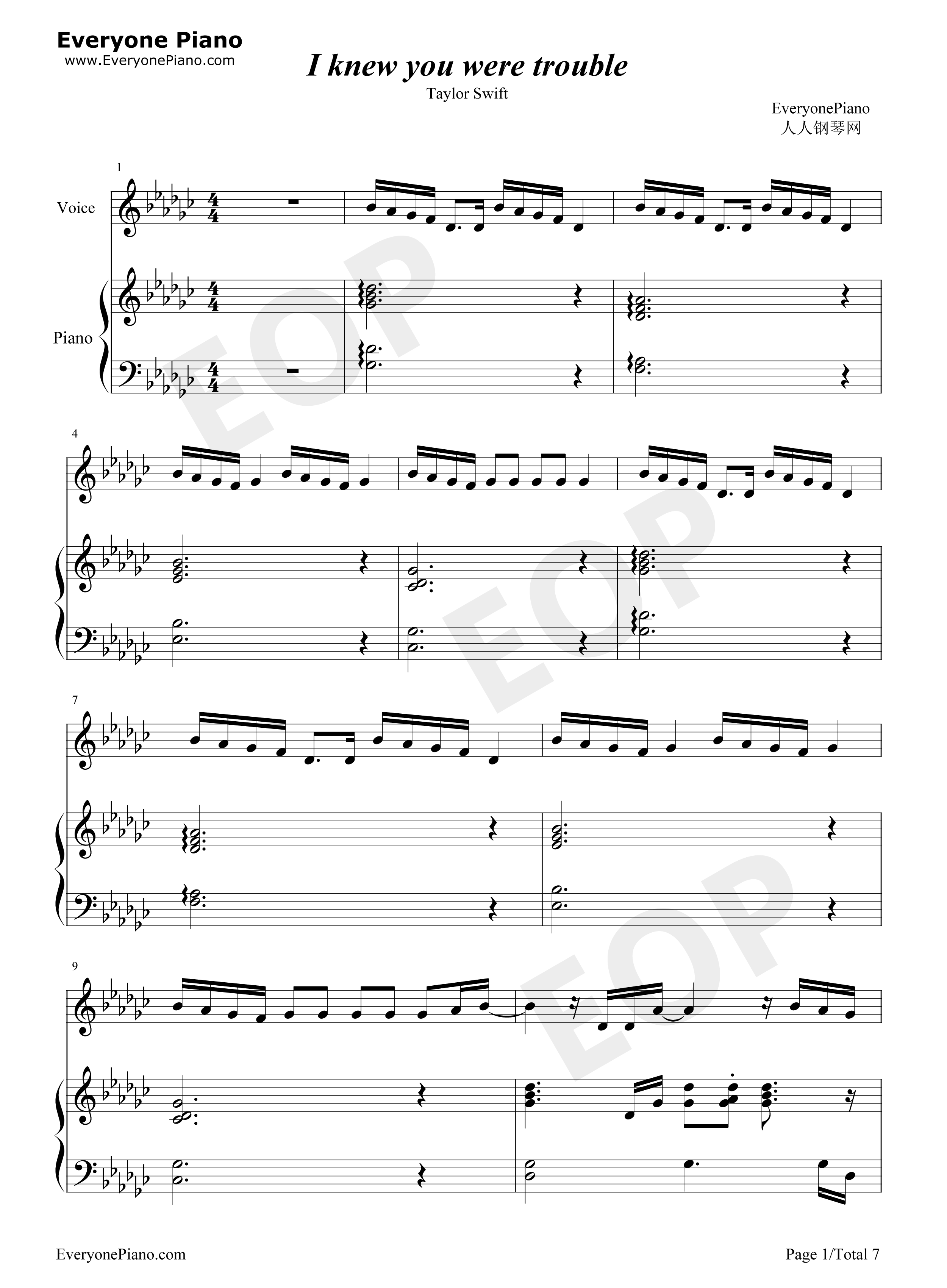 I knew you were trouble taylor swift stave preview 1 free piano listen now print sheet i knew you were trouble taylor swift stave preview 1 hexwebz Images