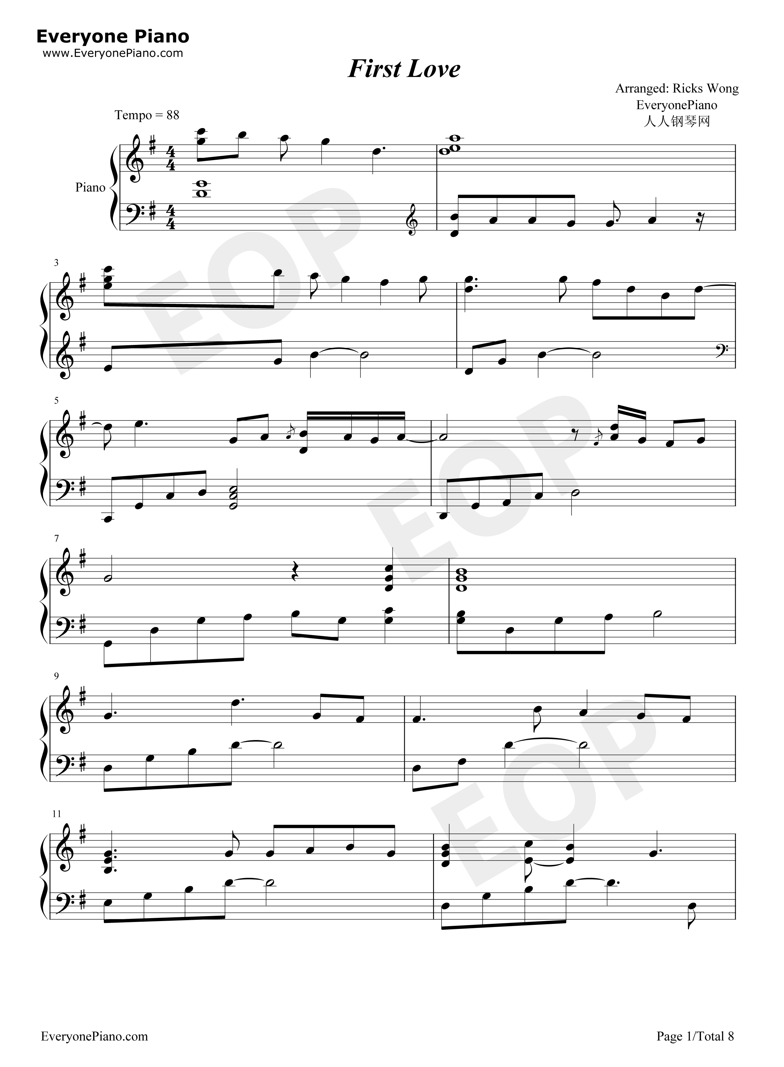 First love utada hikaru partitura piano pdf