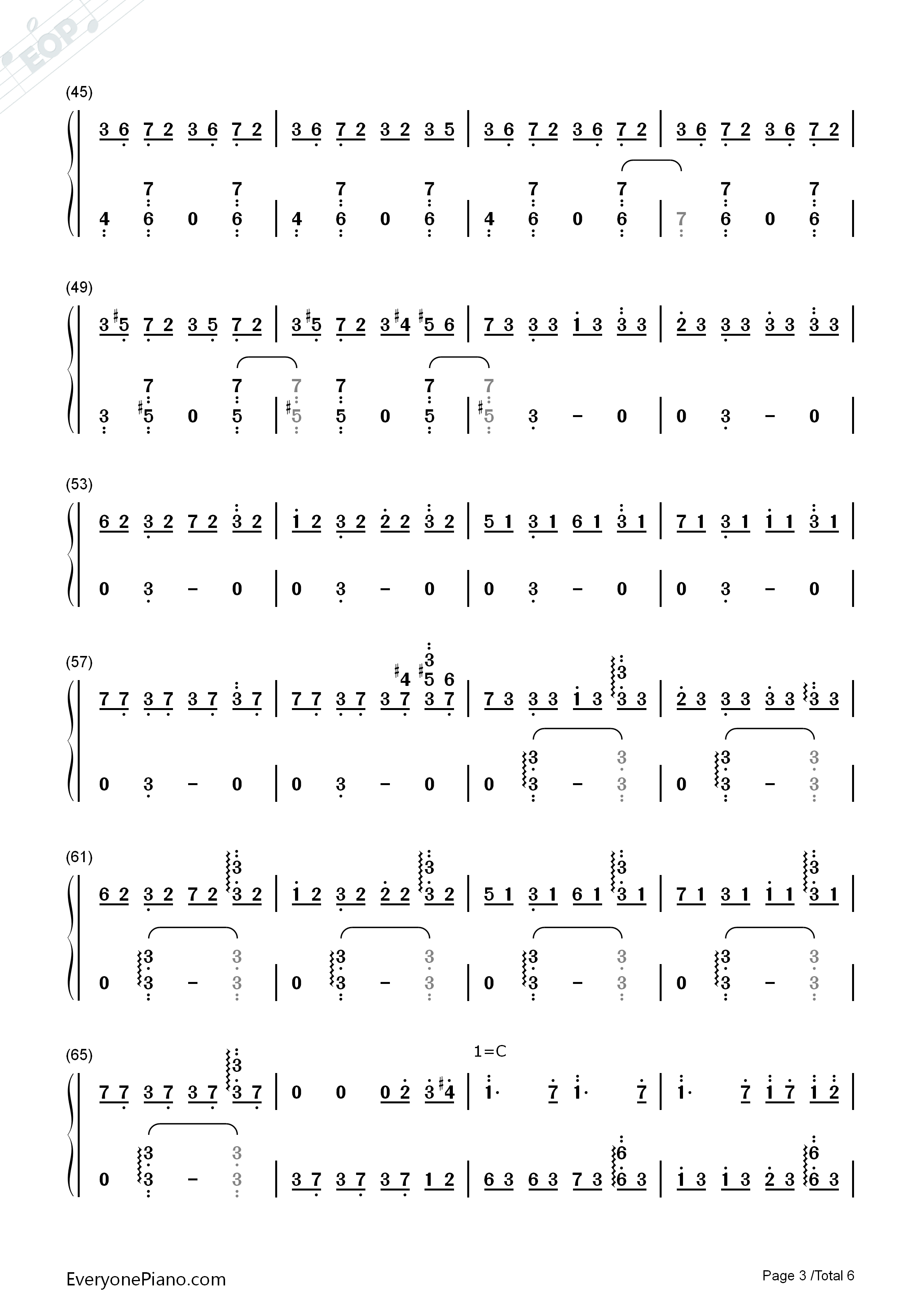 Red Maple Time and Again Numbered Musical Notation Preview 3