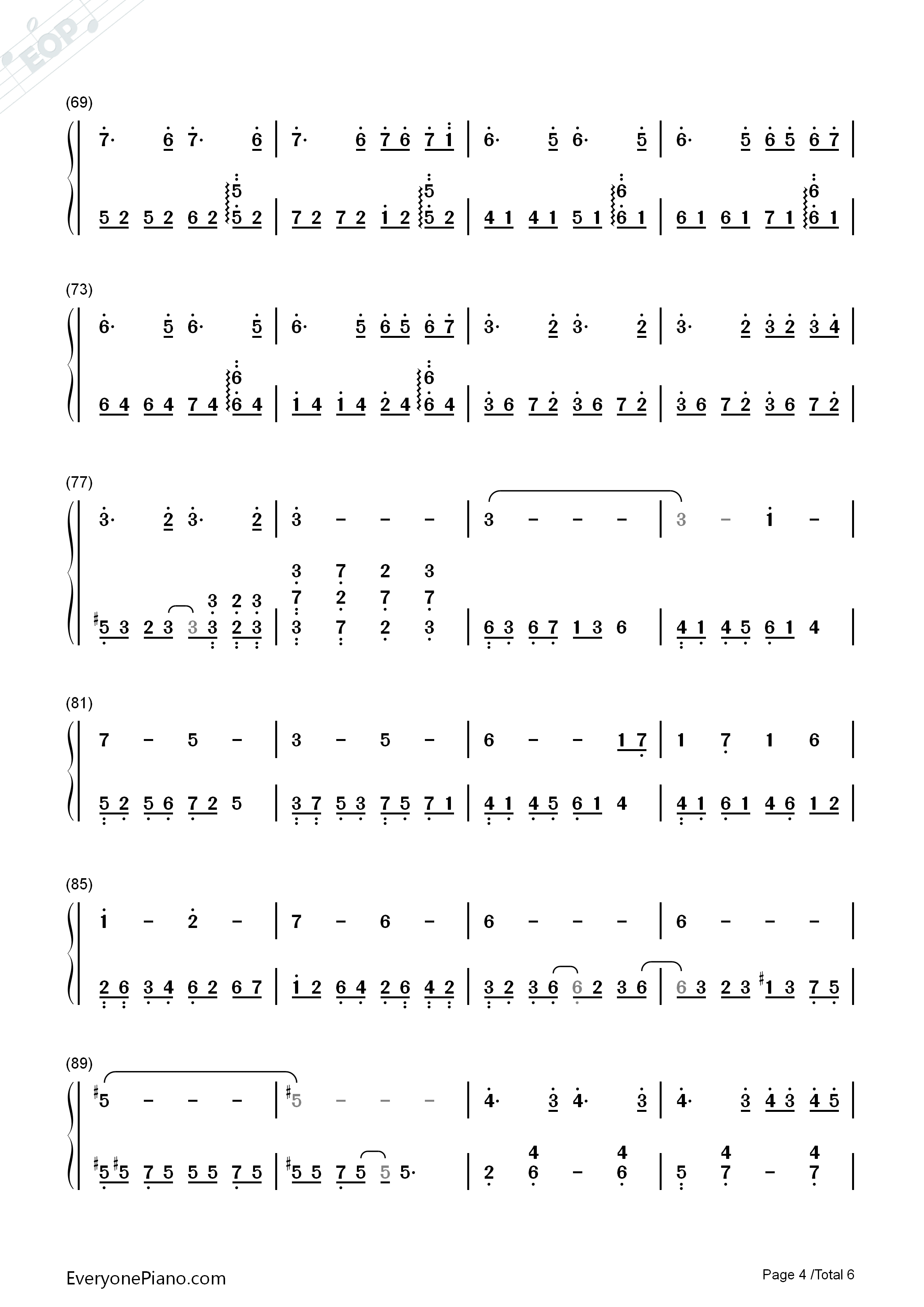 Red Maple Time and Again Numbered Musical Notation Preview 4