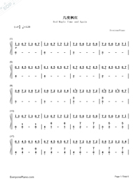 Red Maple Time and Again Numbered Musical Notation Preview 1
