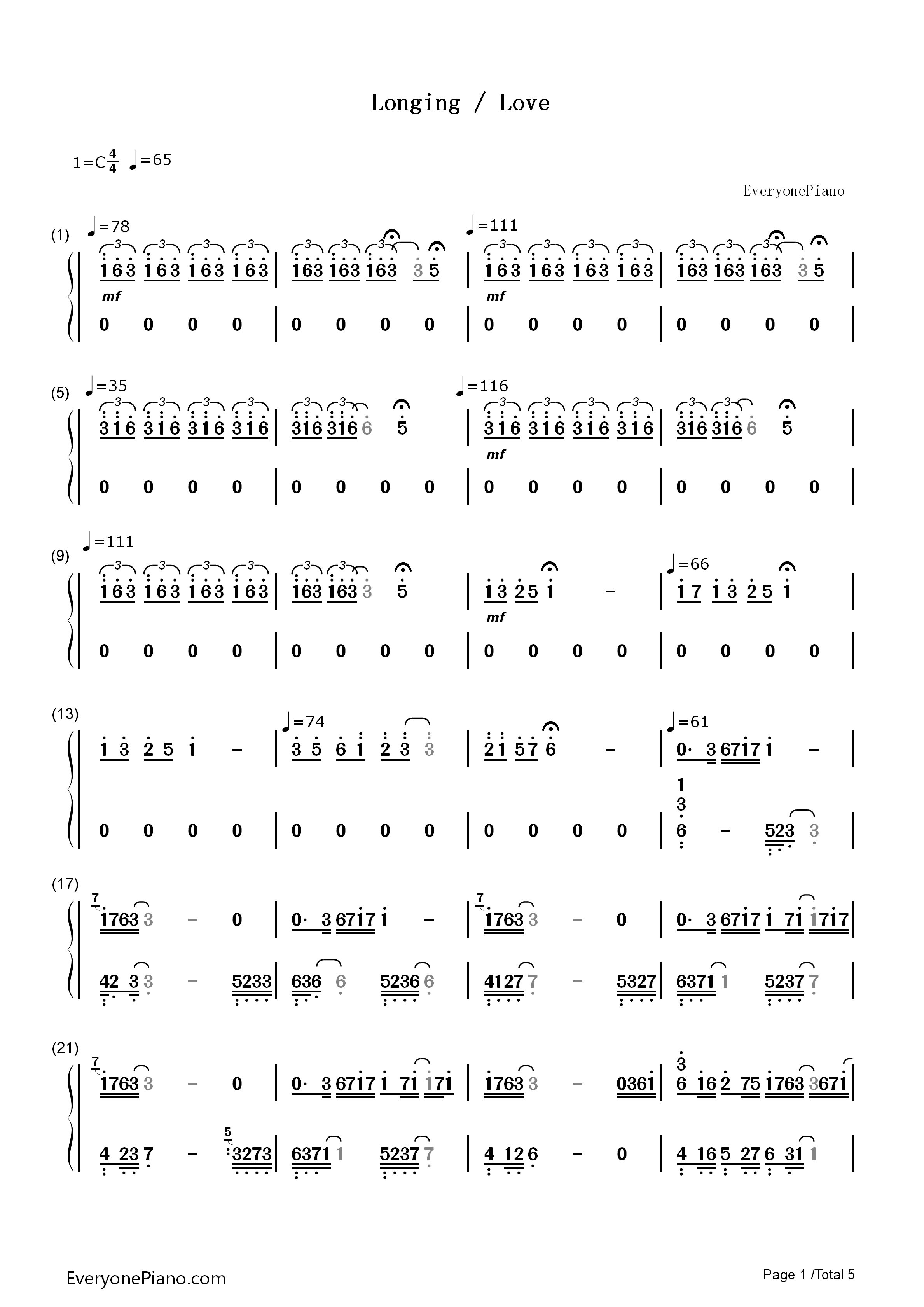 Longing/Love - George Winston Numbered Musical Notation Preview 1