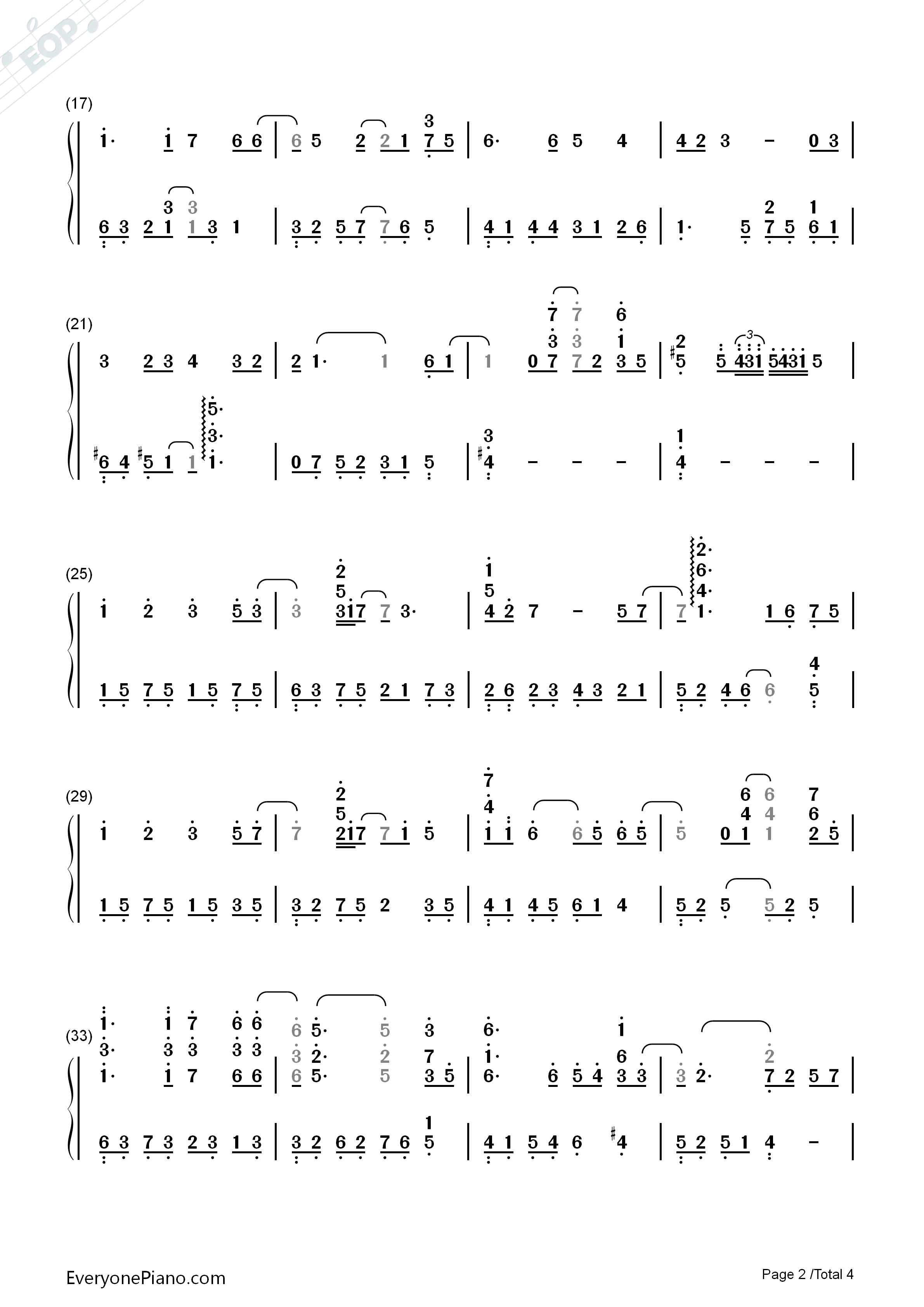 Eyes on Me - Final Fantasy VIII ED Numbered Musical Notation Preview 2