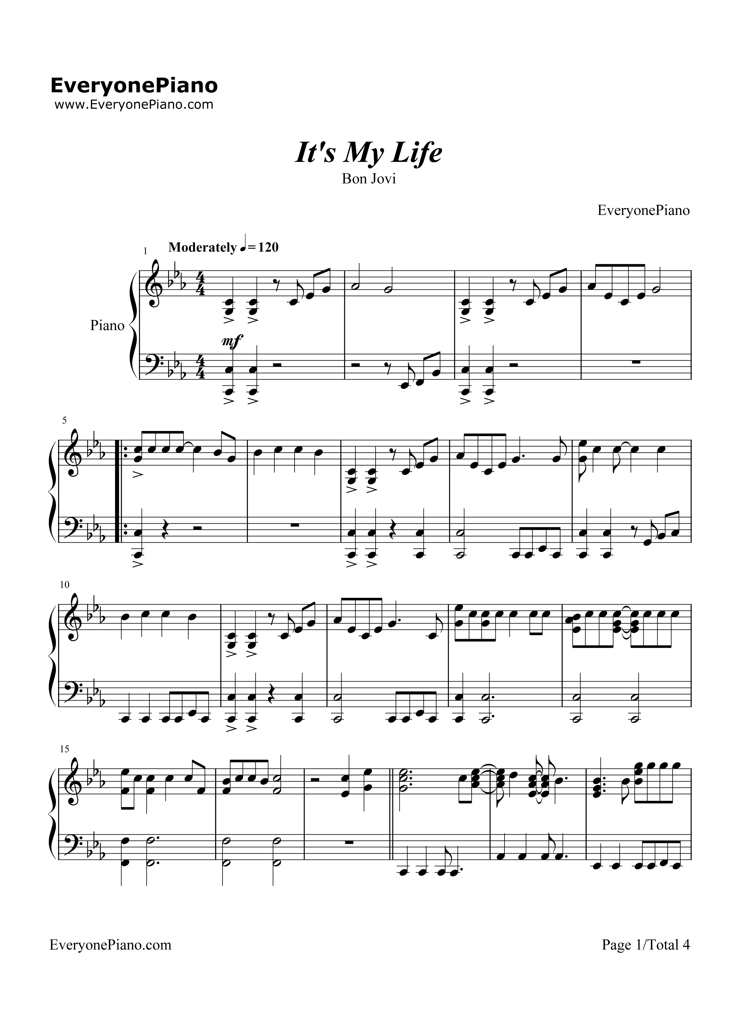 Its my life chord bon jovi stave preview 1 free piano sheet listen now print sheet its my life chord bon jovi stave preview 1 hexwebz Image collections