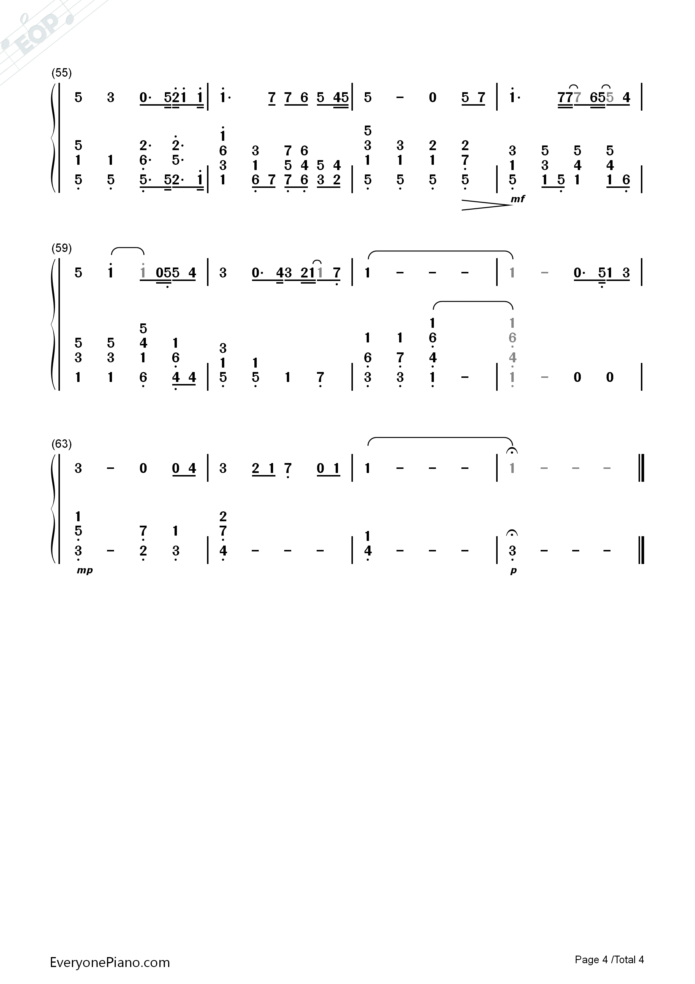 You Raise Me Up-Westlife Numbered Musical Notation Preview 4