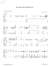 You Raise Me Up-Westlife Numbered Musical Notation Preview 1