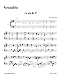 Canon in C Major-Dynamic Version Stave Preview 1