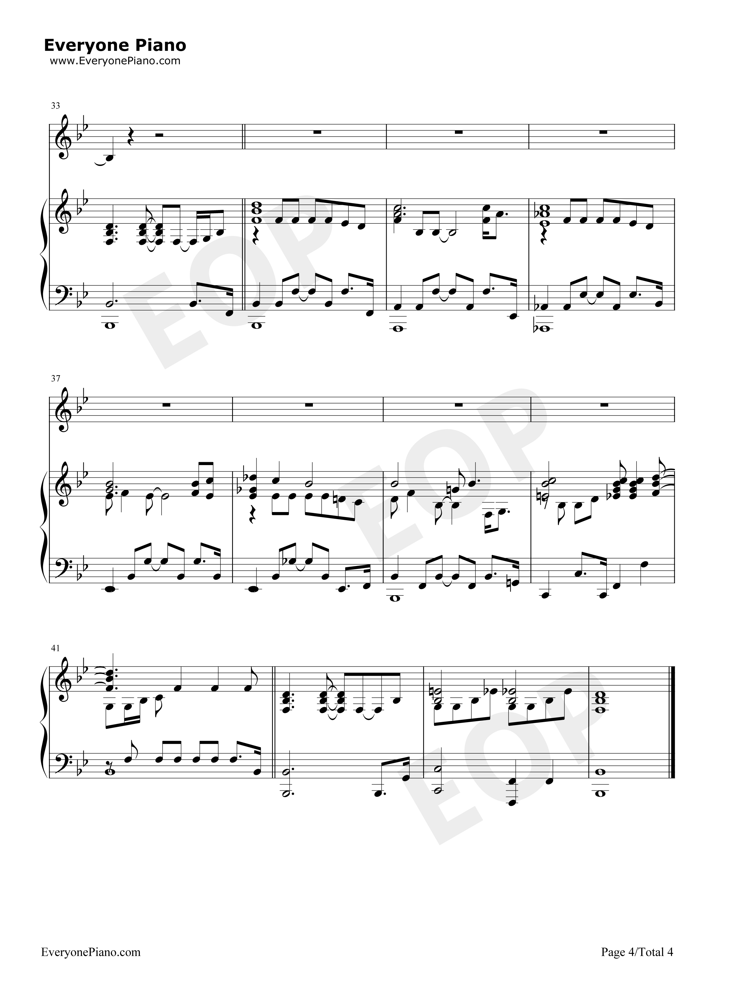 Make You Feel My Love-When in Rome OST Stave Preview 4- Free Piano Sheet Music u0026 Piano Chords