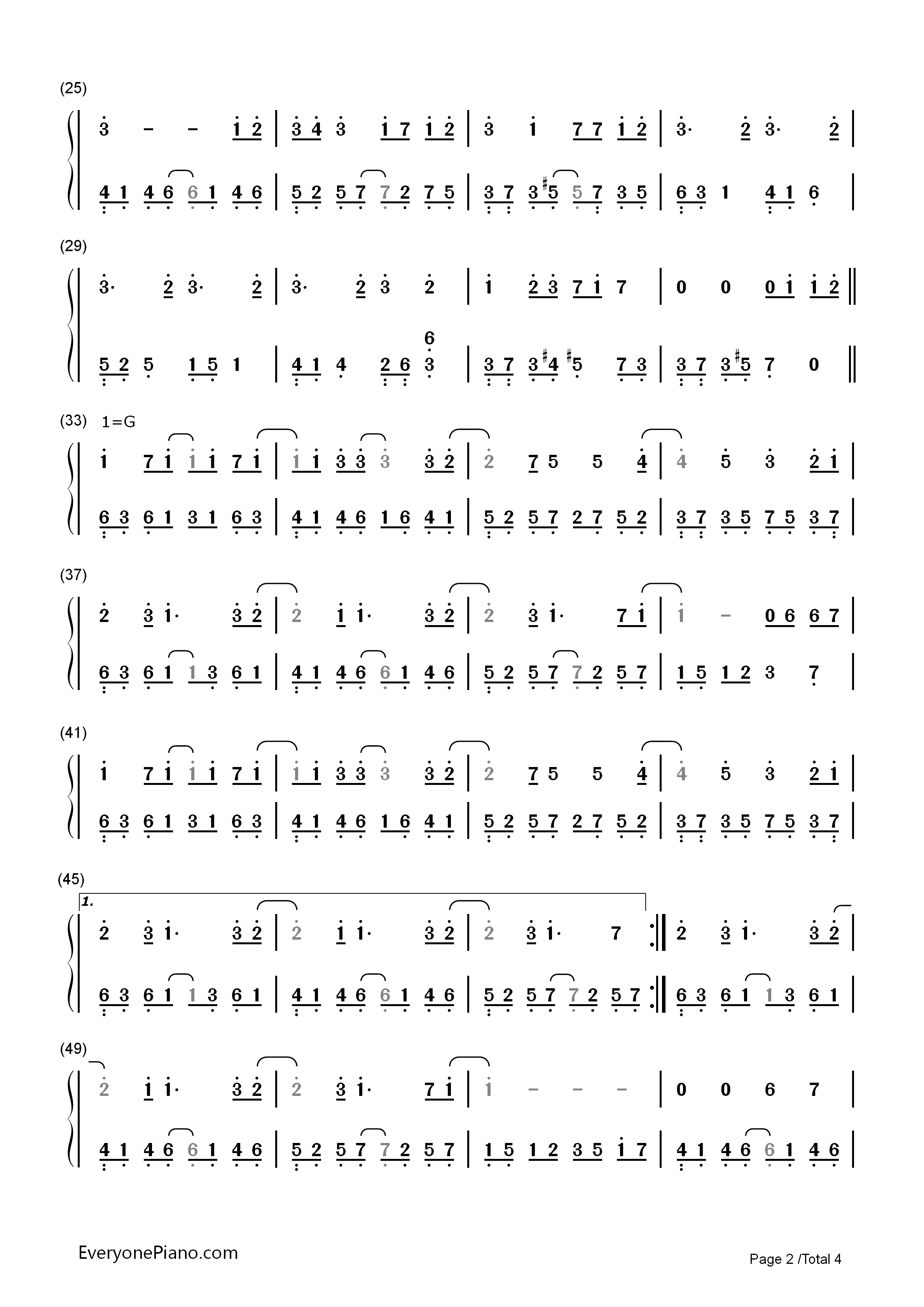 Paranoia - Hatsune Miku Numbered Musical Notation Preview 2