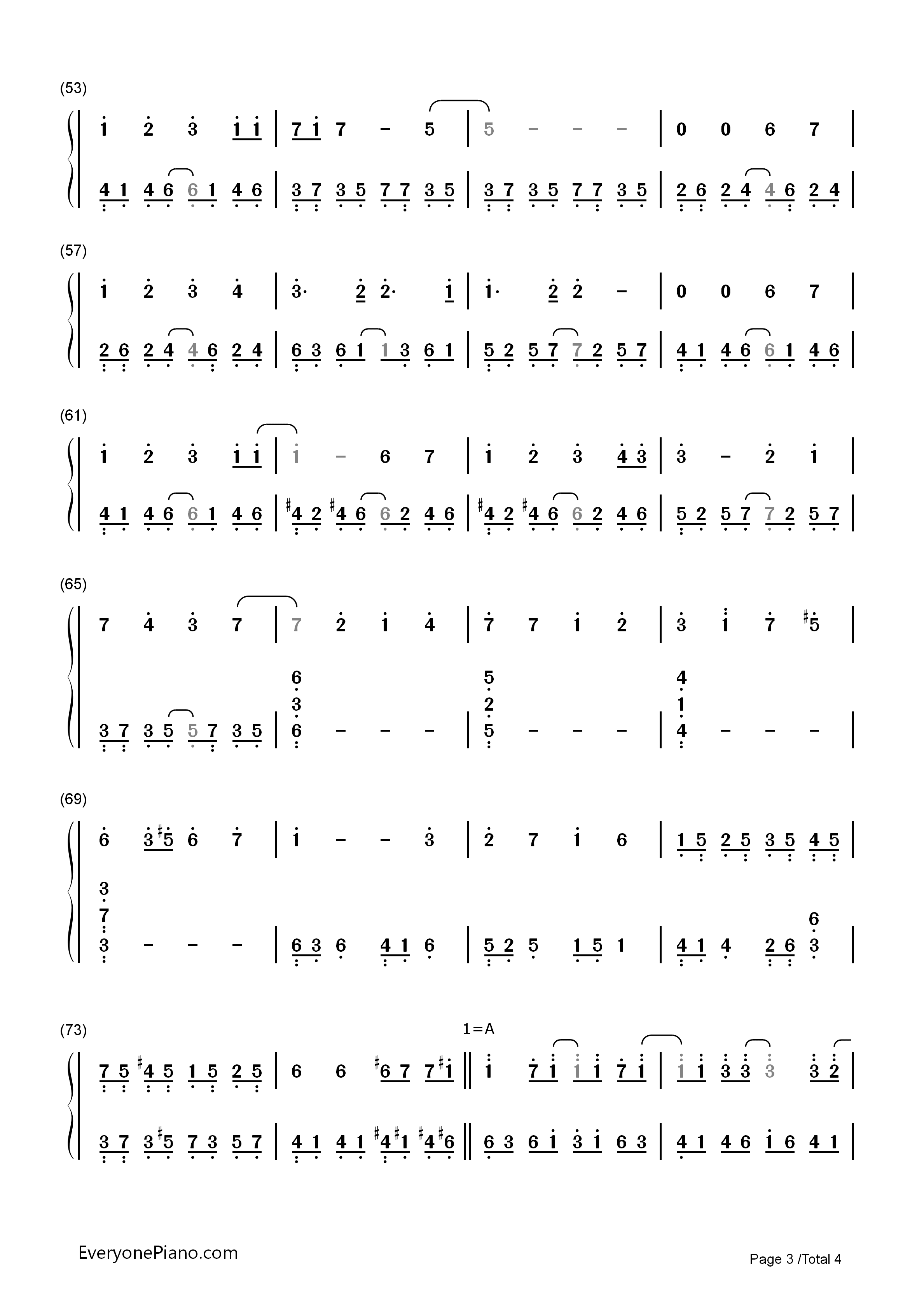 Paranoia - Hatsune Miku Numbered Musical Notation Preview 3